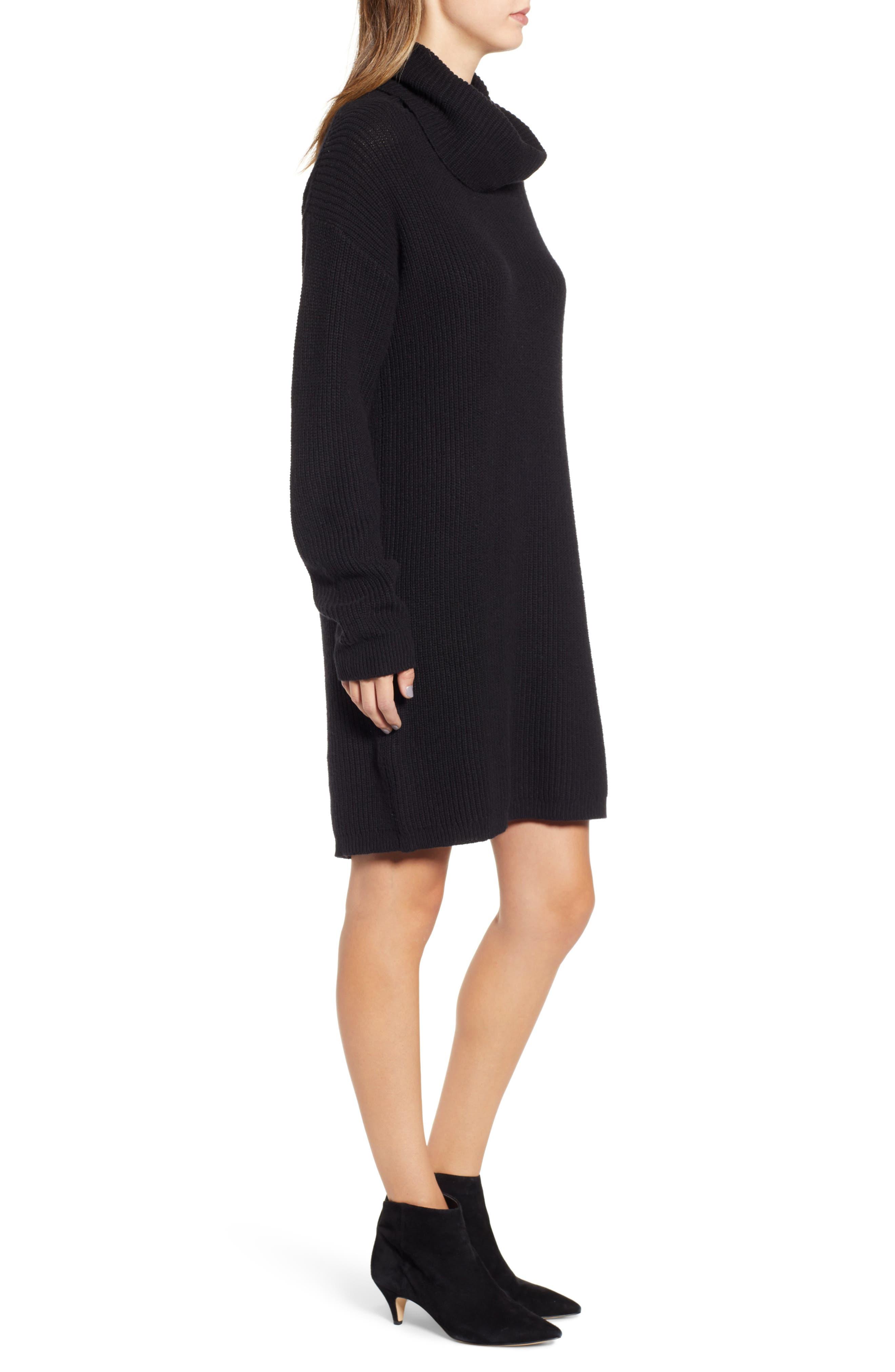 BP.,                             Cowl Neck Sweater Dress,                             Alternate thumbnail 3, color,                             001