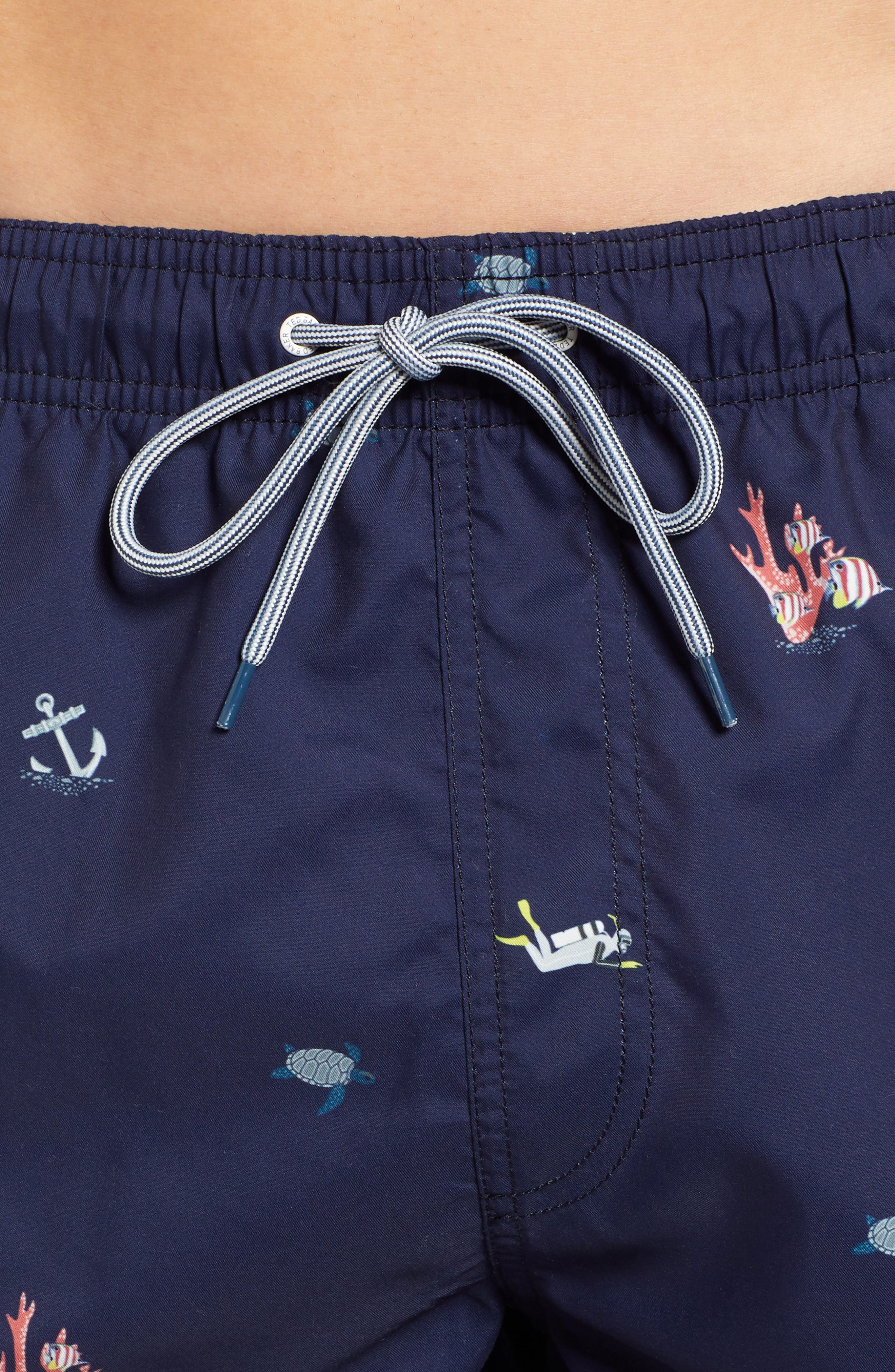 Kelpe Slim Fit Diver Swim Trunks,                             Alternate thumbnail 4, color,                             NAVY