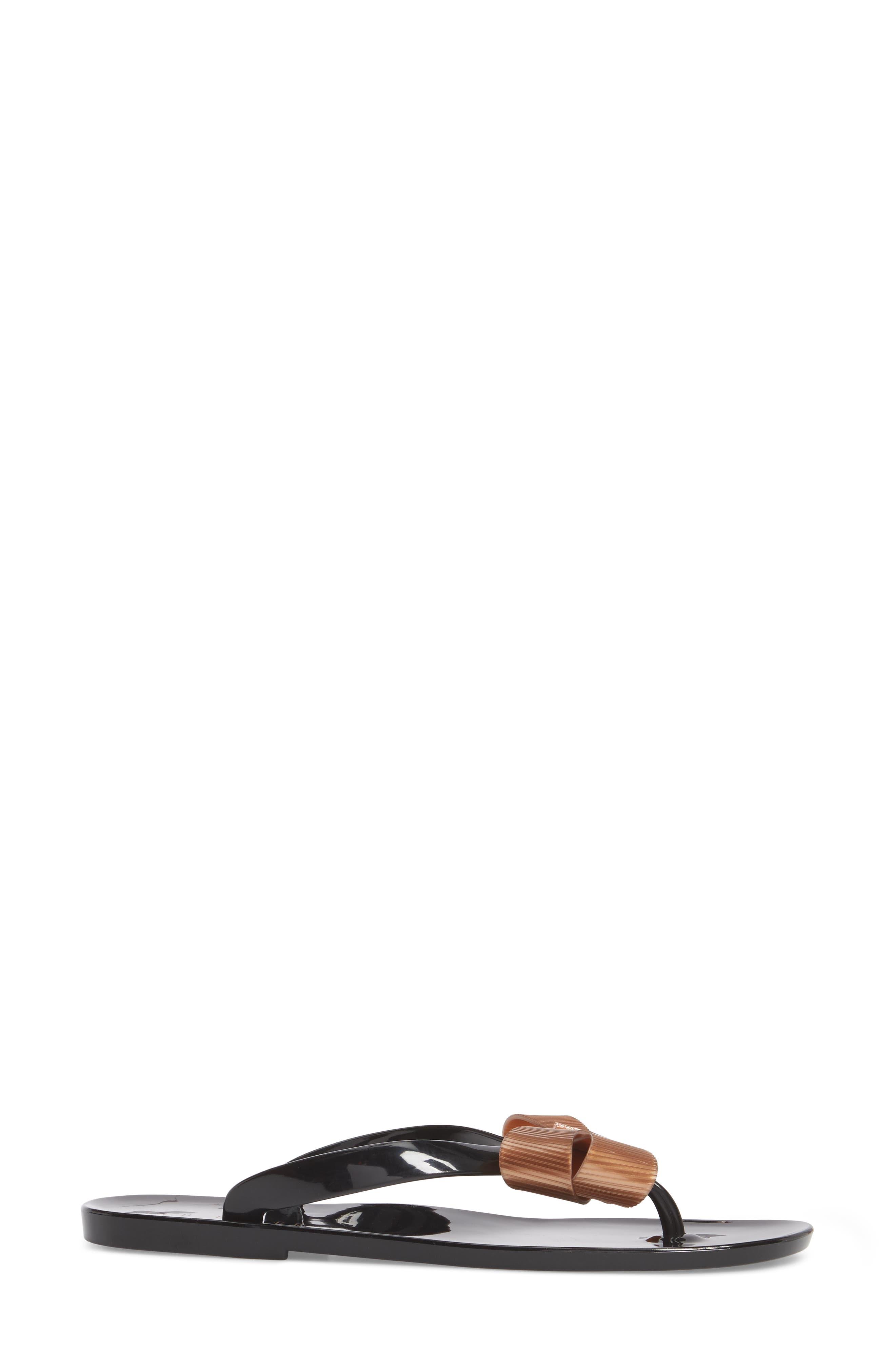 Suszie Flip Flop,                             Alternate thumbnail 3, color,                             BLACK/ ROSE GOLD