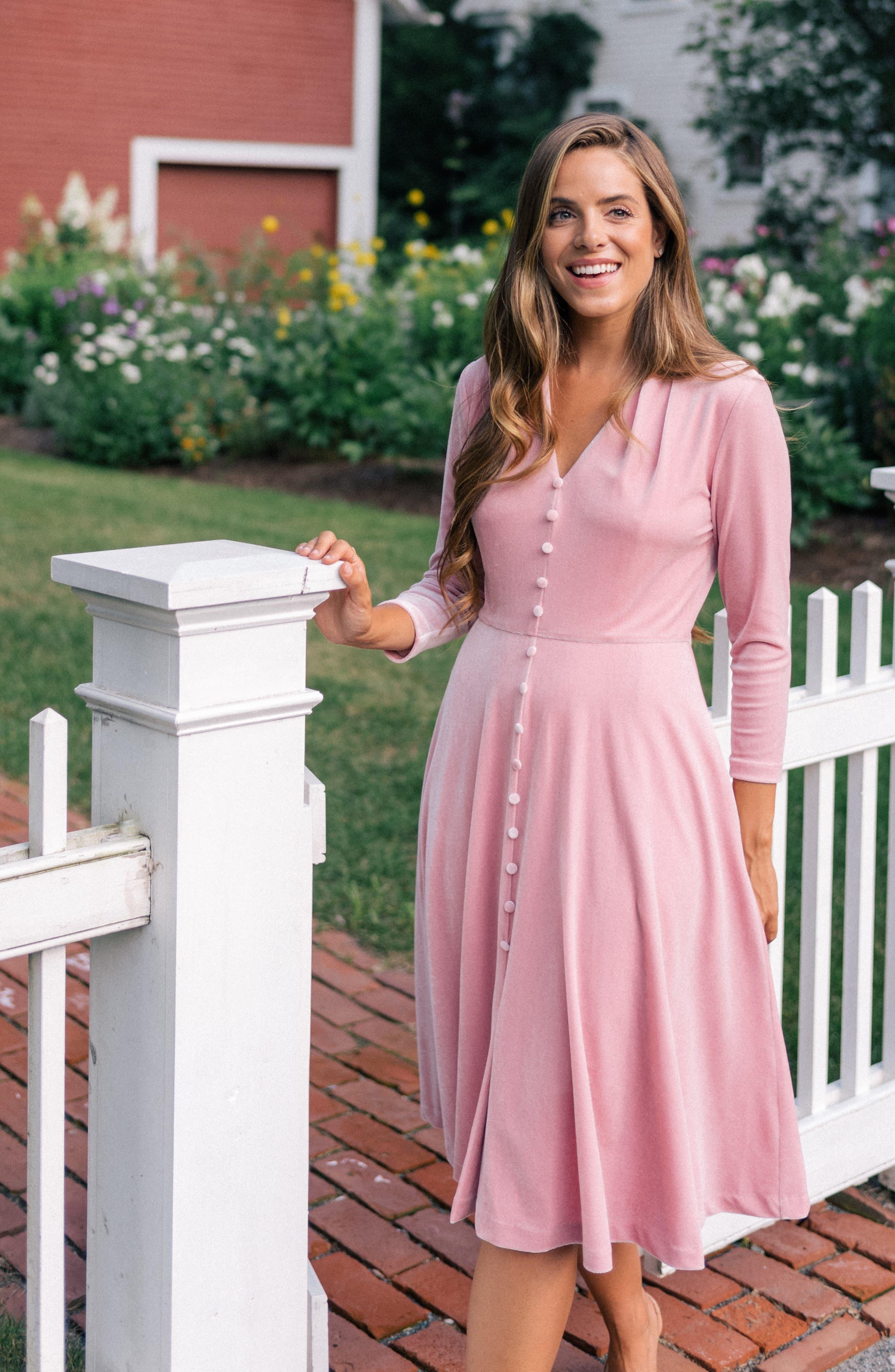 Joy Button Front Velvet Dress,                             Alternate thumbnail 6, color,                             PINK