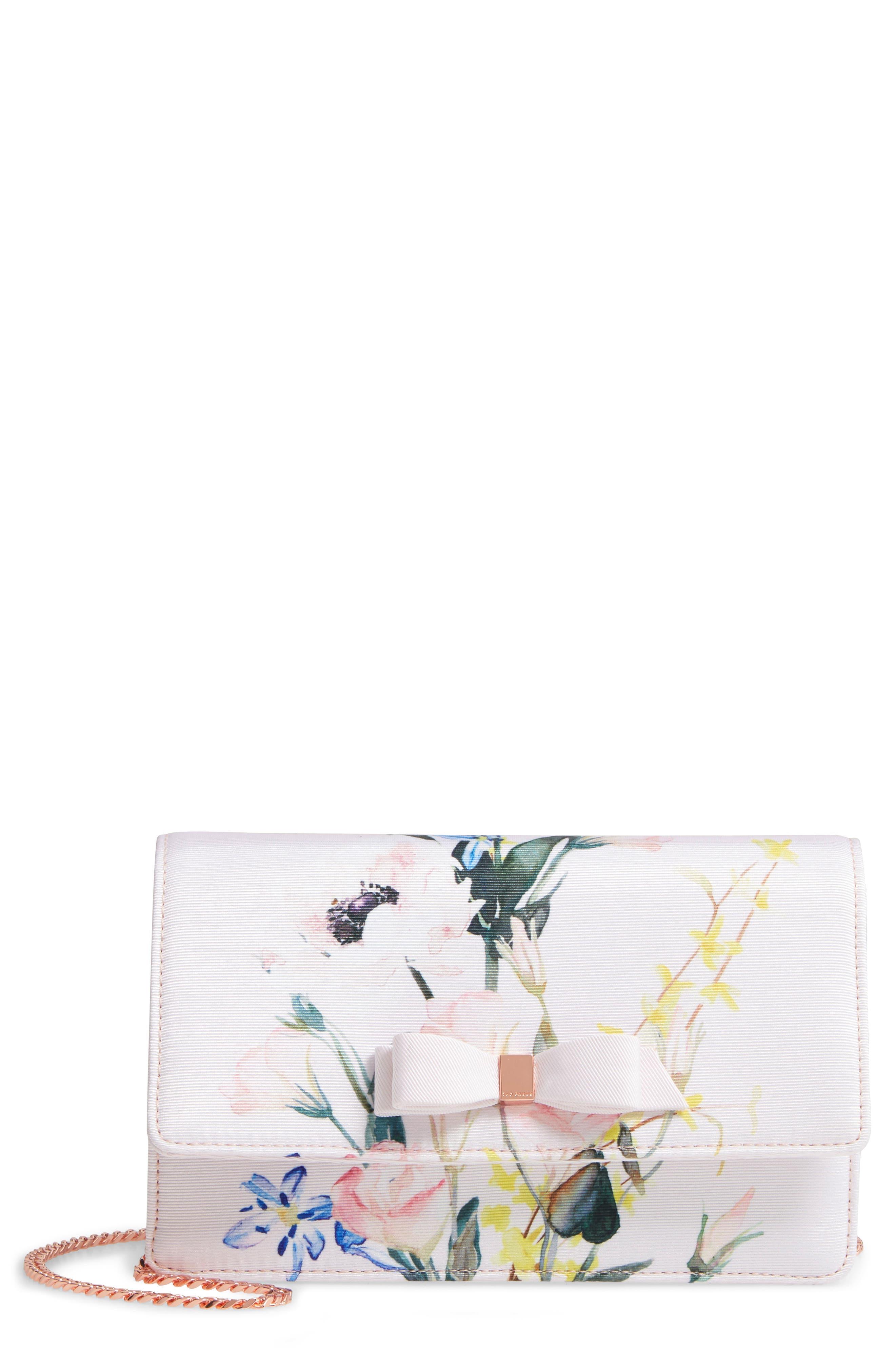 Hania Elegant Bow Evening Bag,                             Main thumbnail 1, color,                             NUDE PINK
