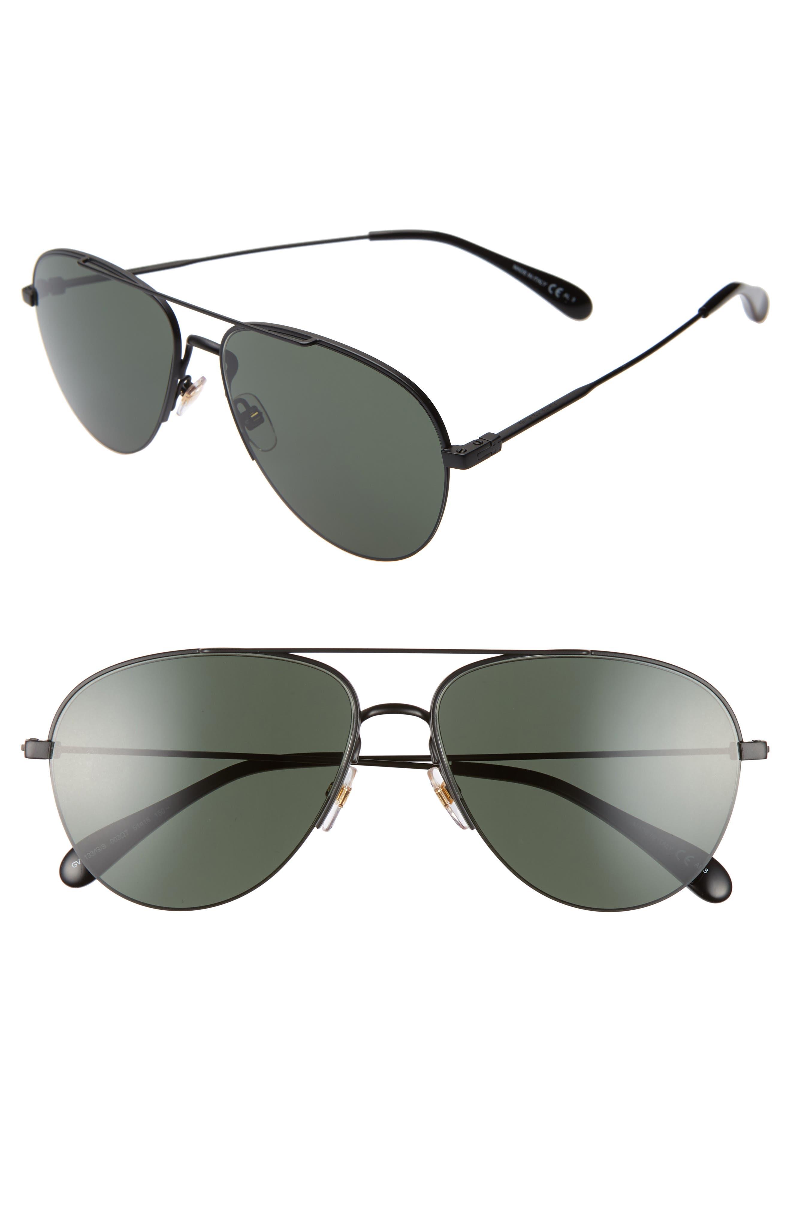 GIVENCHY 61mm Aviator Sunglasses, Main, color, MATTE BLACK