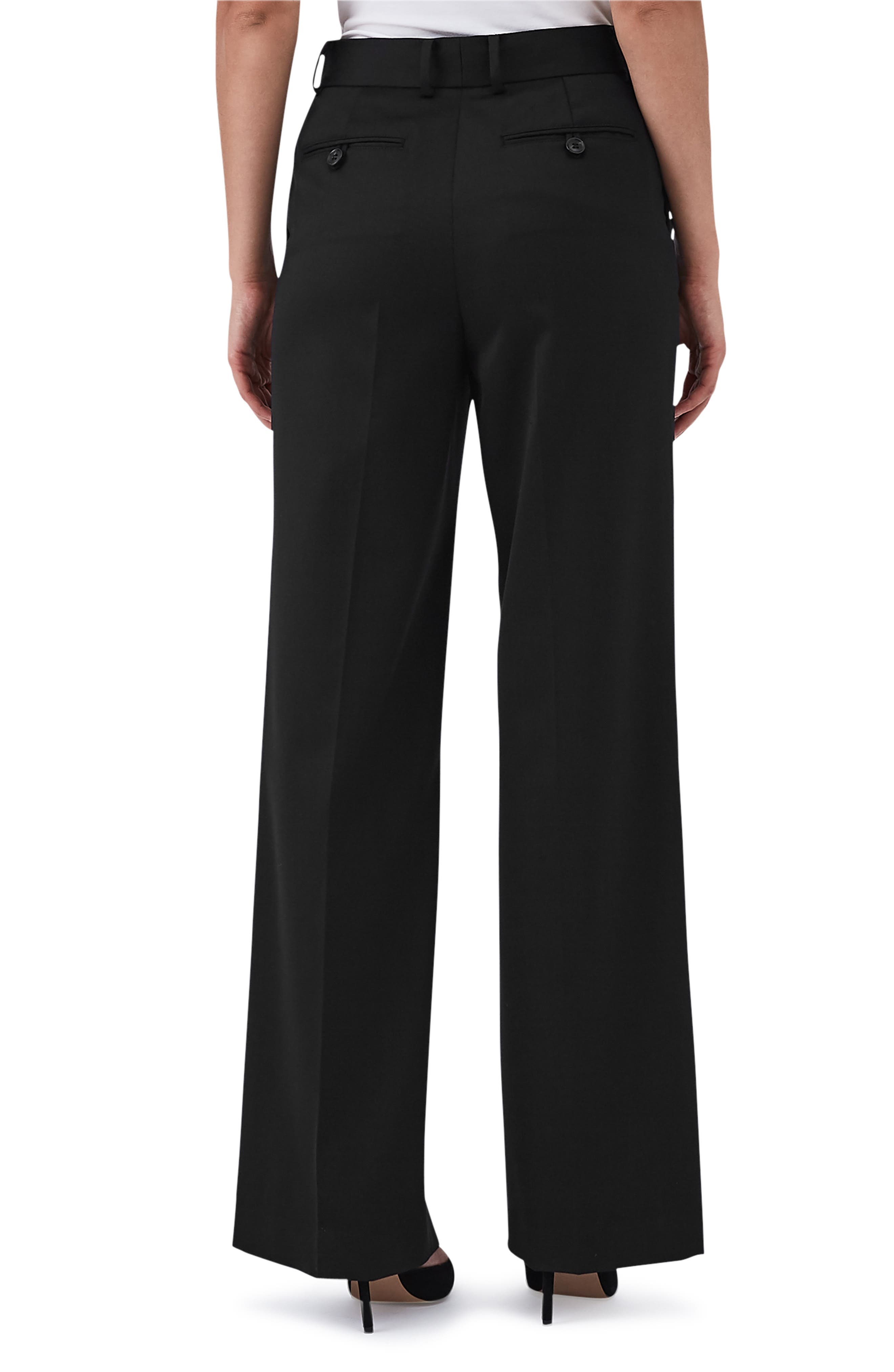 Harper Wide Leg Stretch Wool Trousers,                             Alternate thumbnail 2, color,                             BLACK
