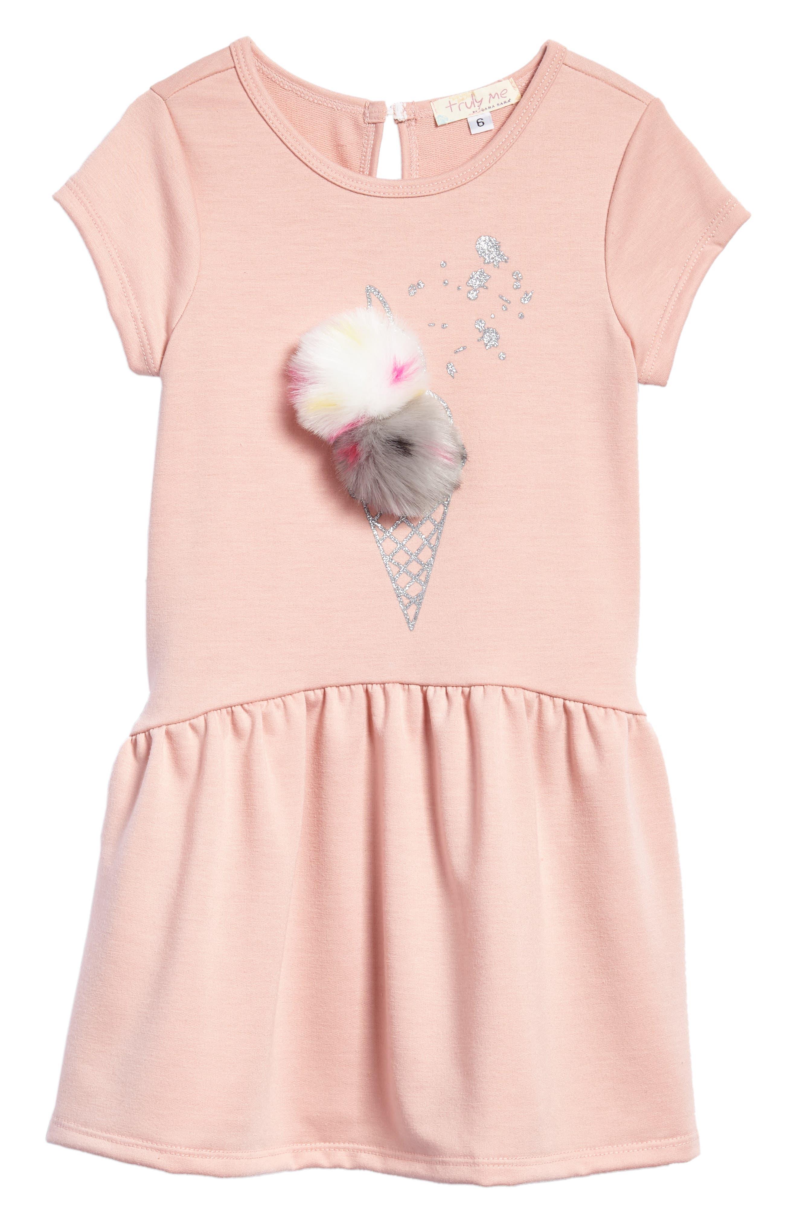 Faux Fur Pompom Embellished Dress,                             Main thumbnail 1, color,                             680