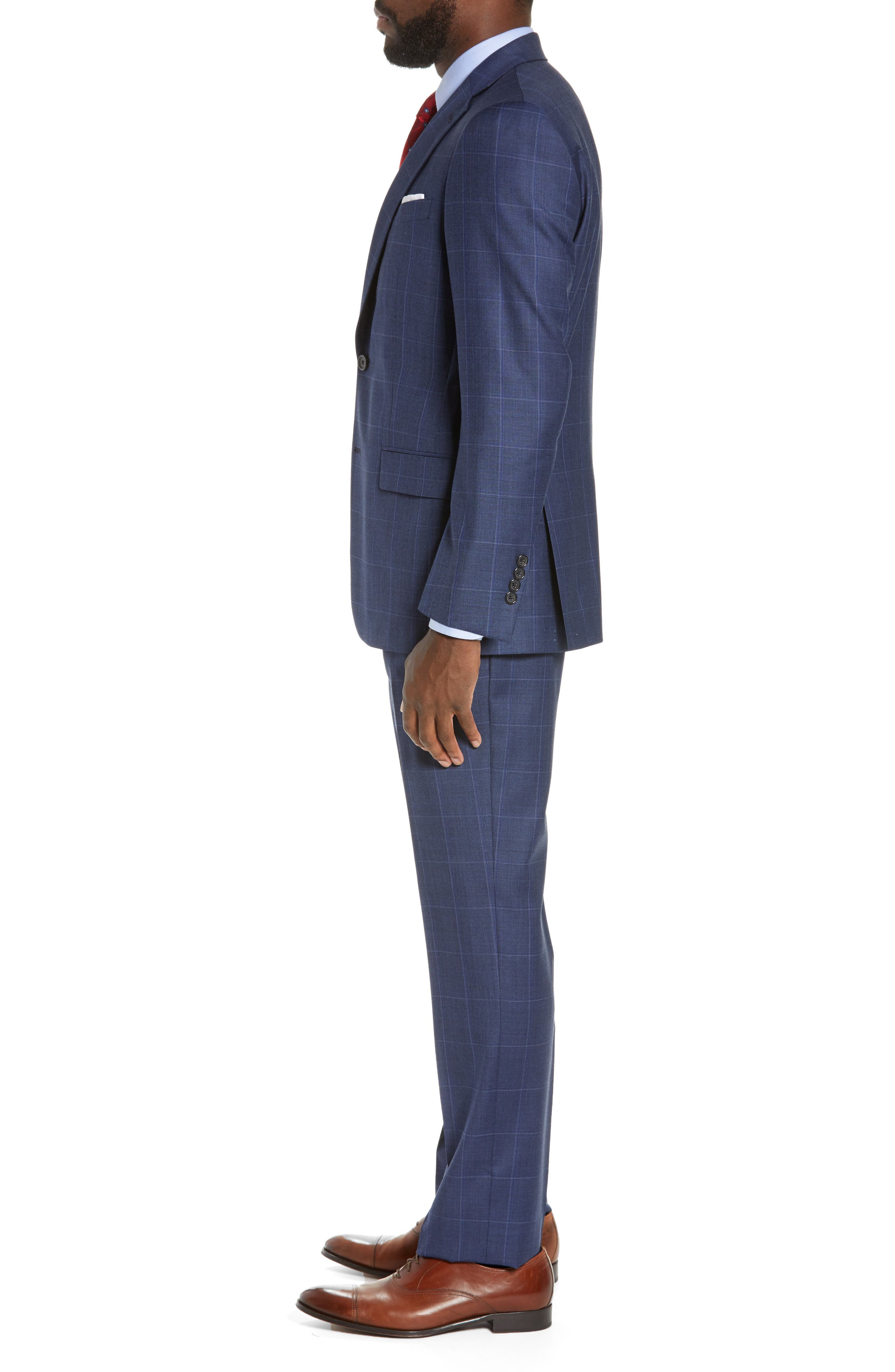 New York Classic Fit Windowpane Wool Suit,                             Alternate thumbnail 3, color,                             420
