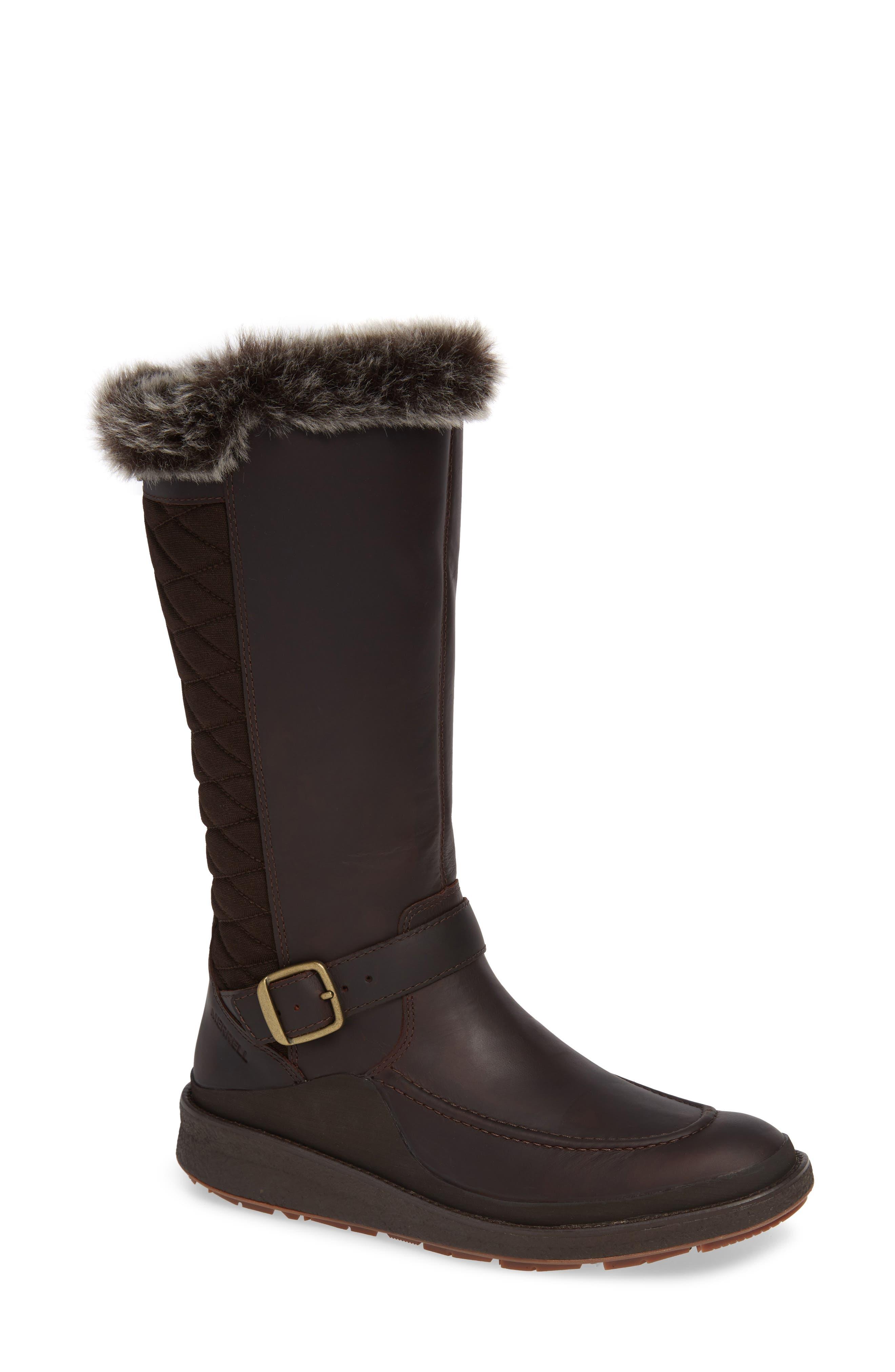 Merrell Tremblant Ezra Polar Waterproof Boot With Faux Fur Trim, Brown