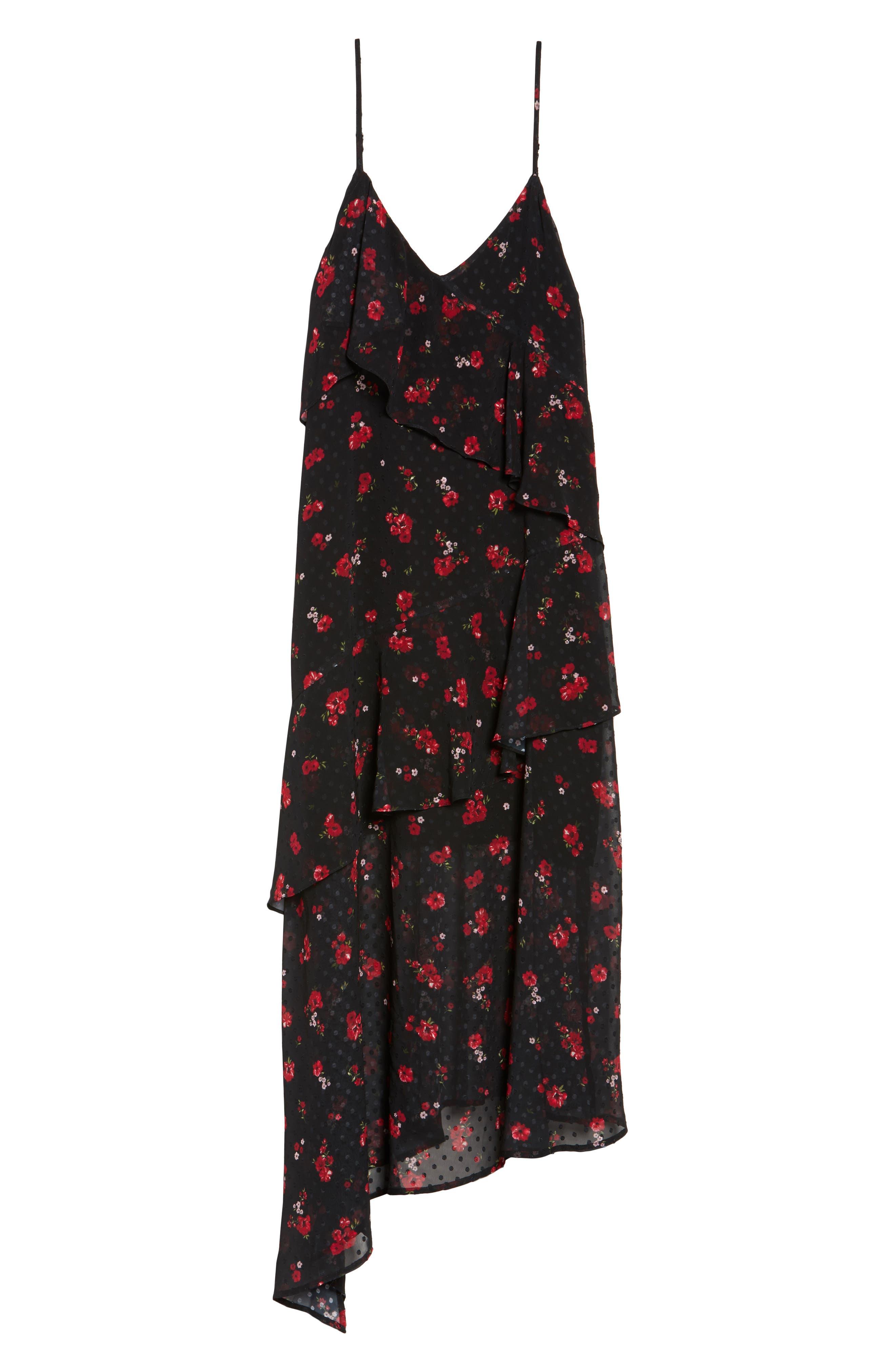 Poppy Ruffle Cold Shoulder Dress,                             Alternate thumbnail 6, color,                             008