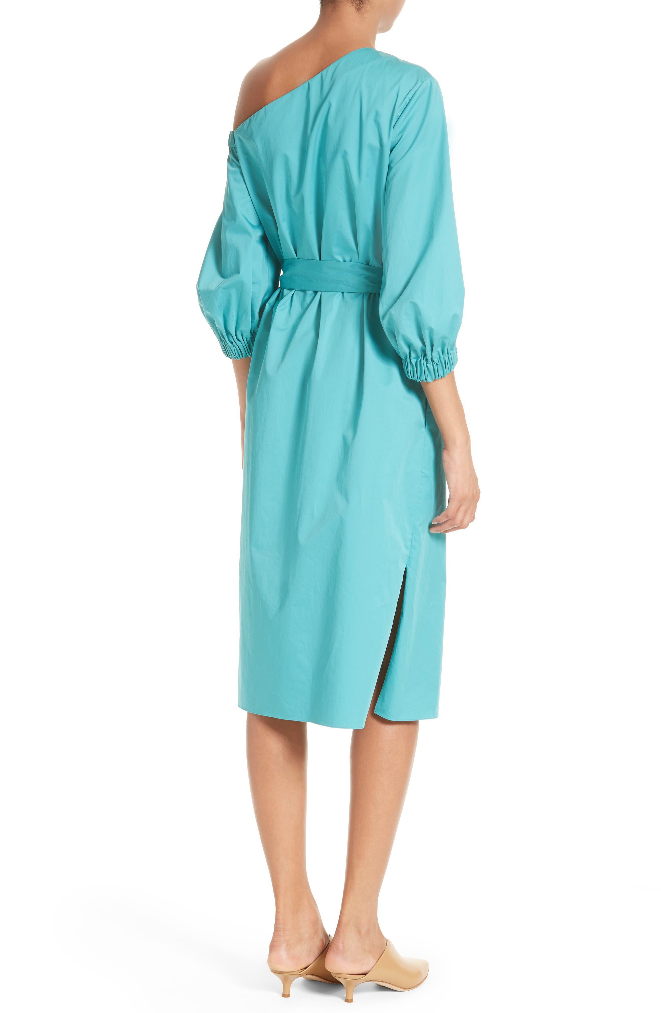 Cotton One-Shoulder Dress,                             Alternate thumbnail 2, color,