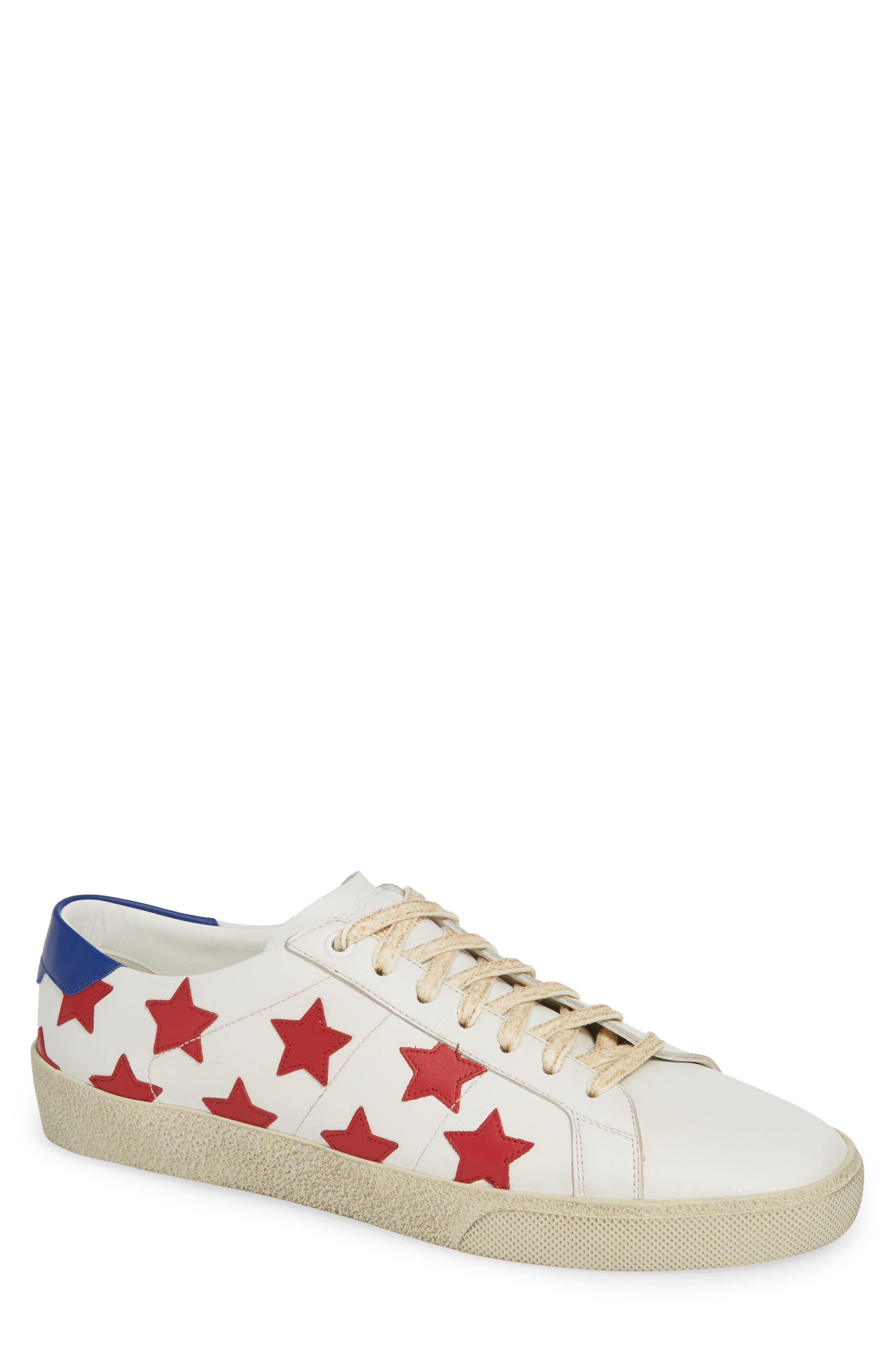 SAINT LAURENT,                             Star Low-Top Sneaker,                             Main thumbnail 1, color,                             WHITE/ MULTI