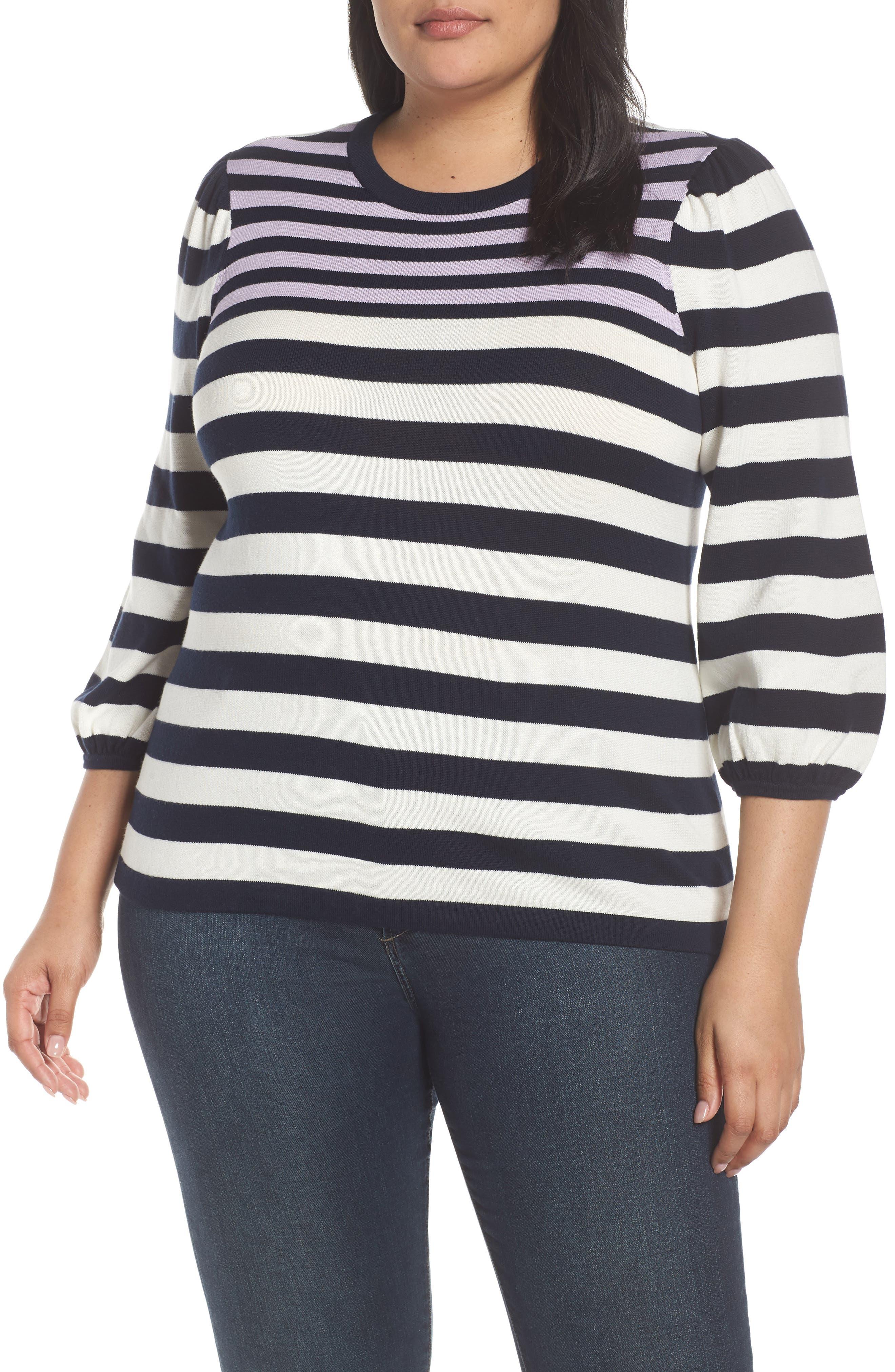 Stripe Blouson Sleeve Sweater,                             Main thumbnail 1, color,                             CAVIAR