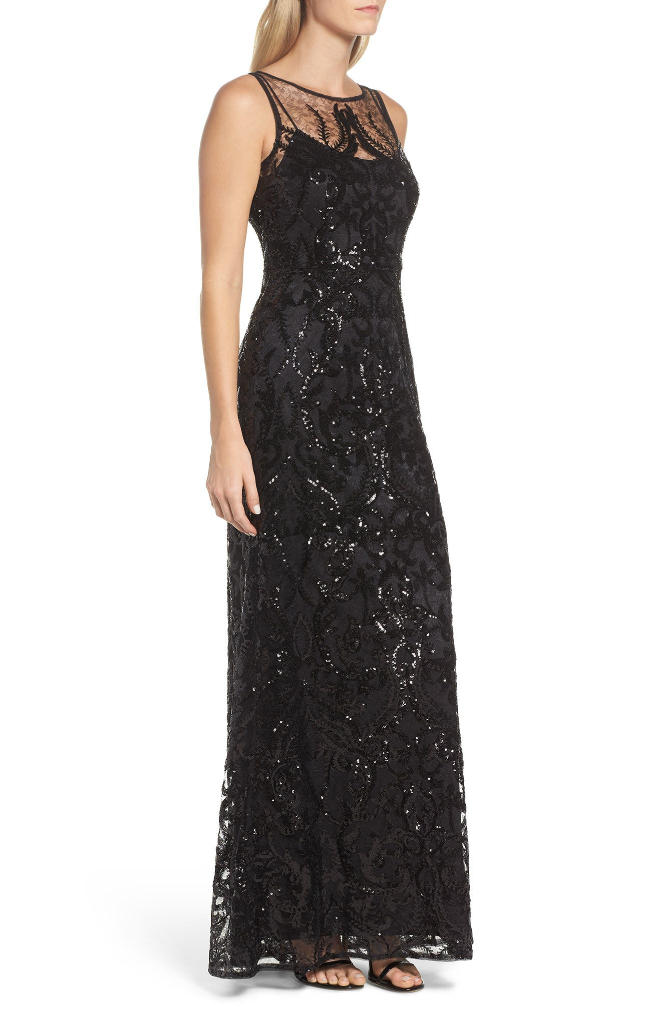 Sequin Embellished Chiffon Gown,                             Alternate thumbnail 3, color,                             002