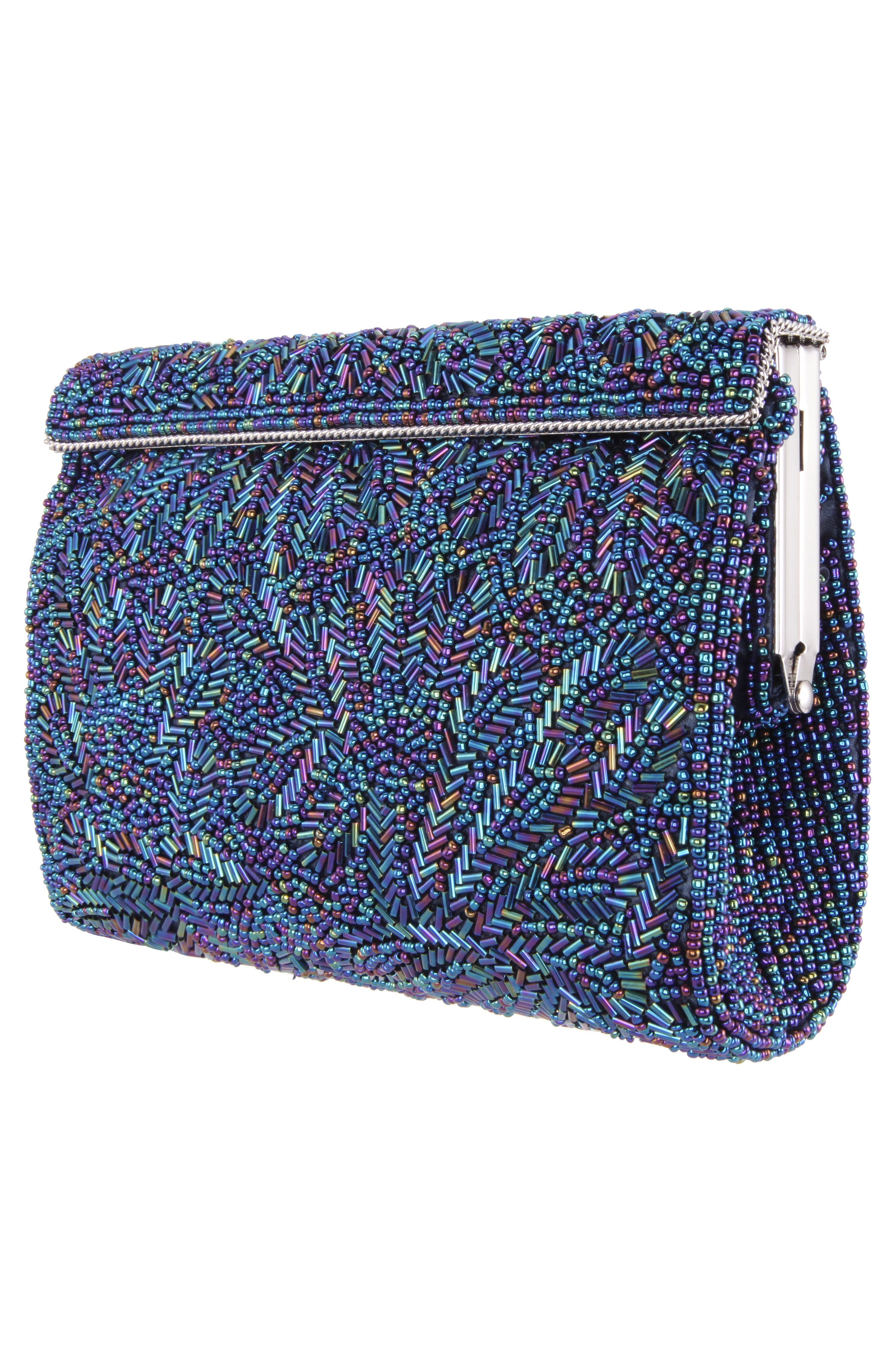 'Meadow' Beaded Frame Clutch,                             Alternate thumbnail 4, color,                             472