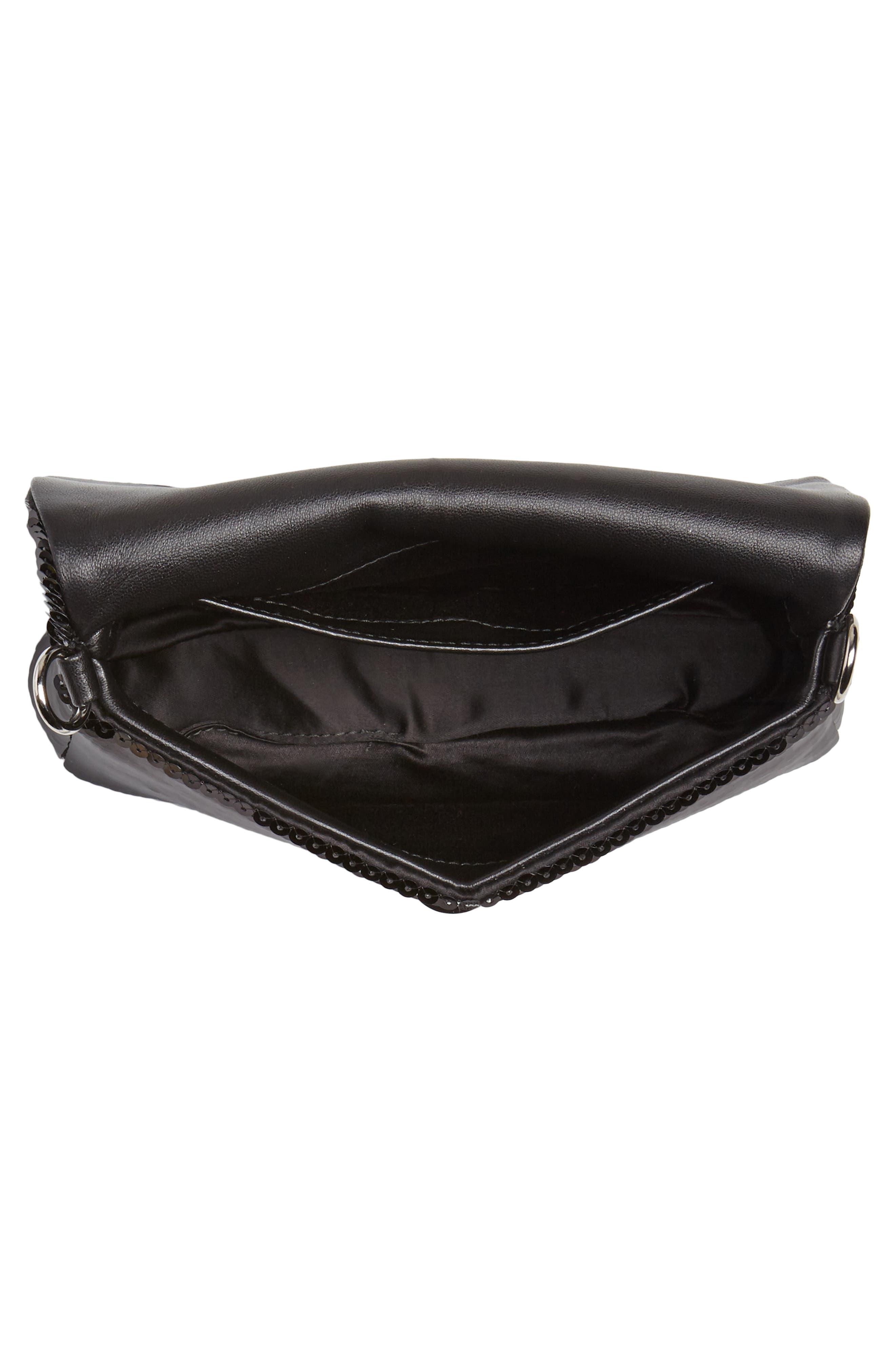 Paillettes Flap Crossbody Bag,                             Alternate thumbnail 5, color,                             NERO
