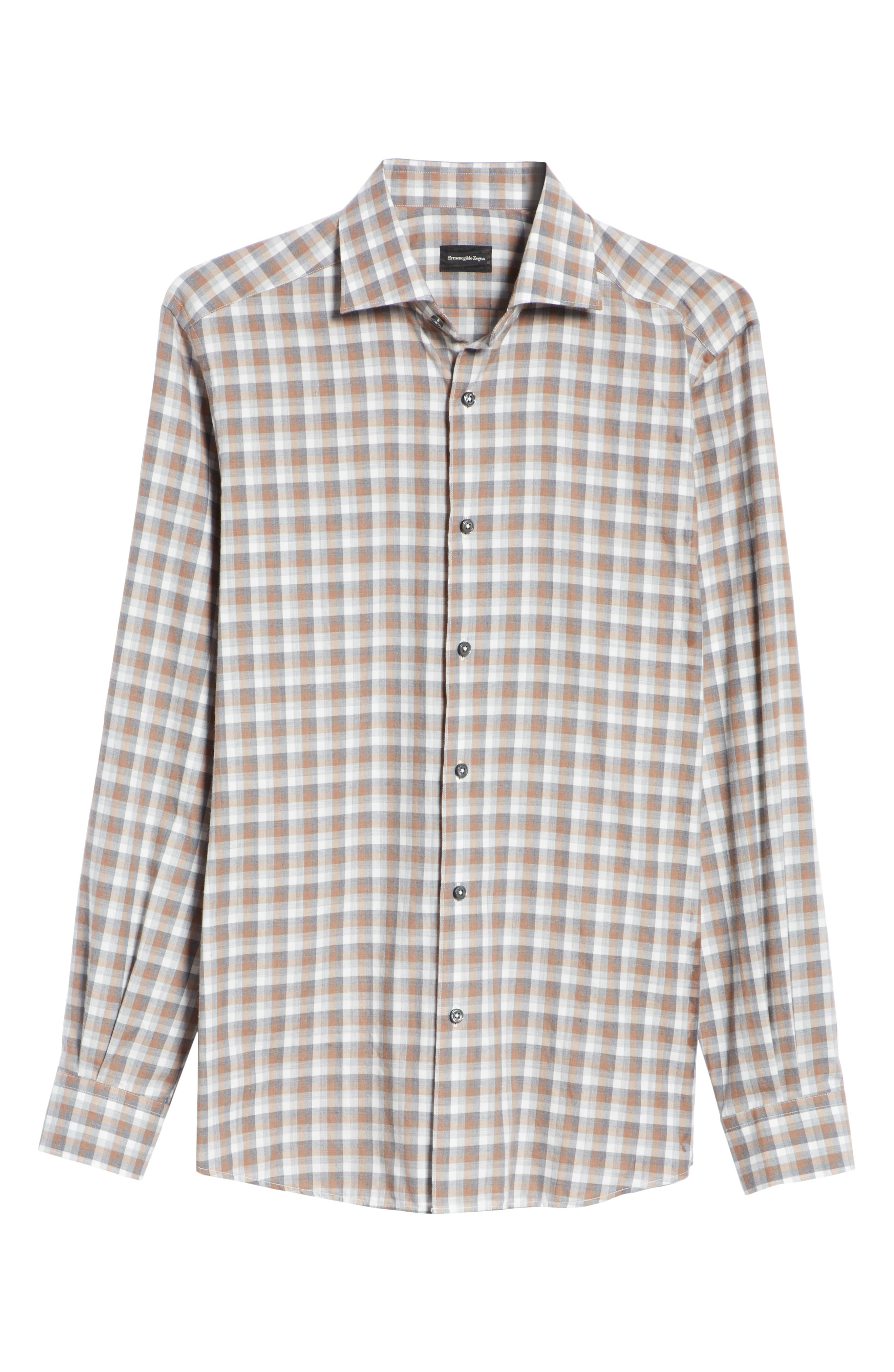 Classic Fit Check Sport Shirt,                             Alternate thumbnail 6, color,                             BROWN