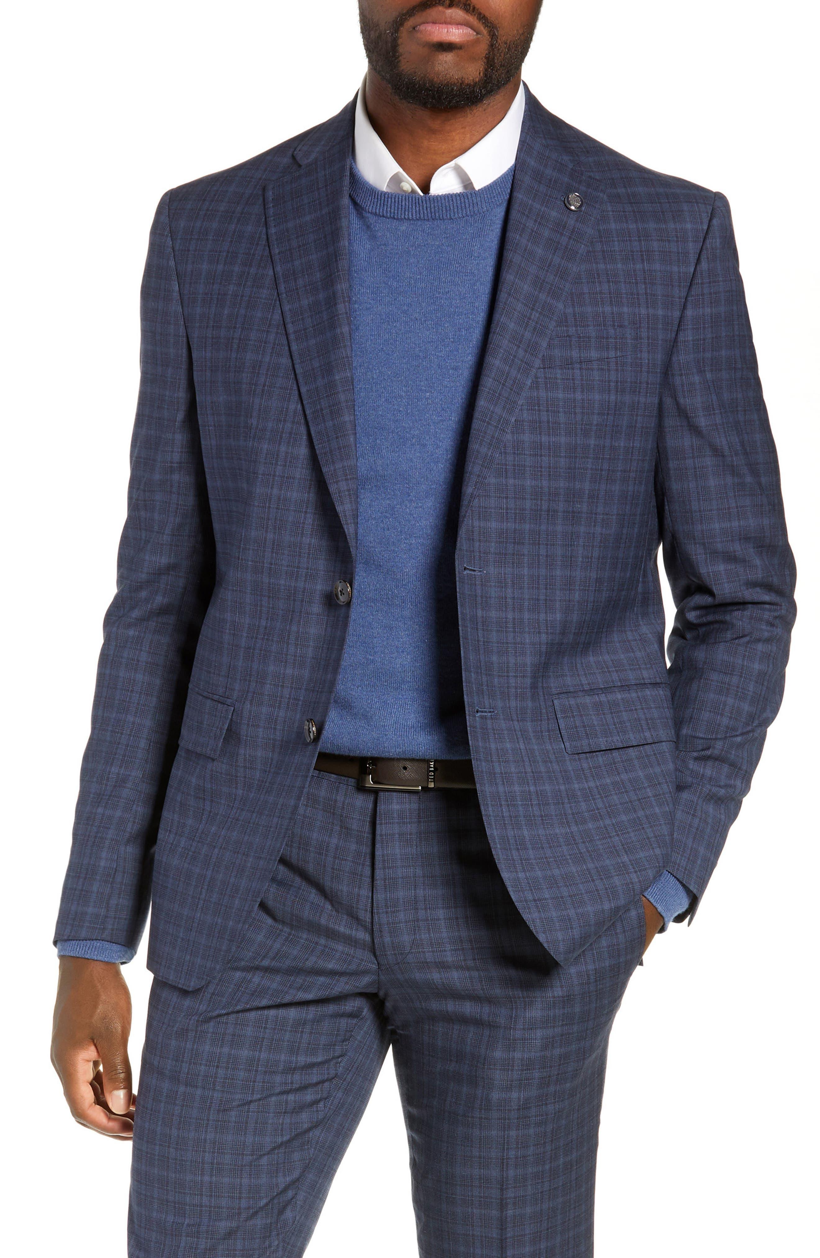 TED BAKER LONDON,                             Roger Slim Fit Plaid Wool Suit,                             Alternate thumbnail 5, color,                             GREY