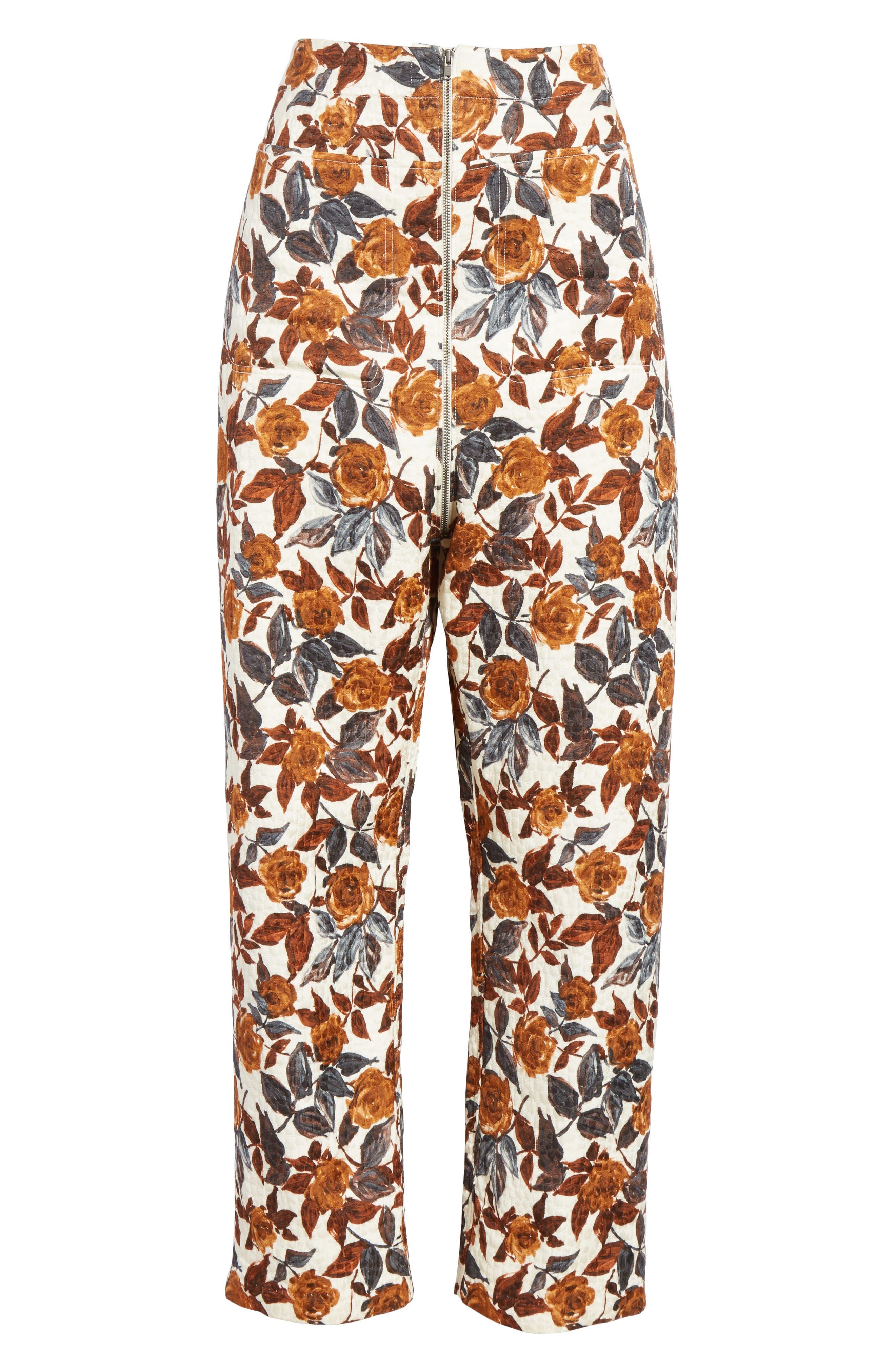 Barrie Floral Print Pants,                             Alternate thumbnail 6, color,                             BROWN
