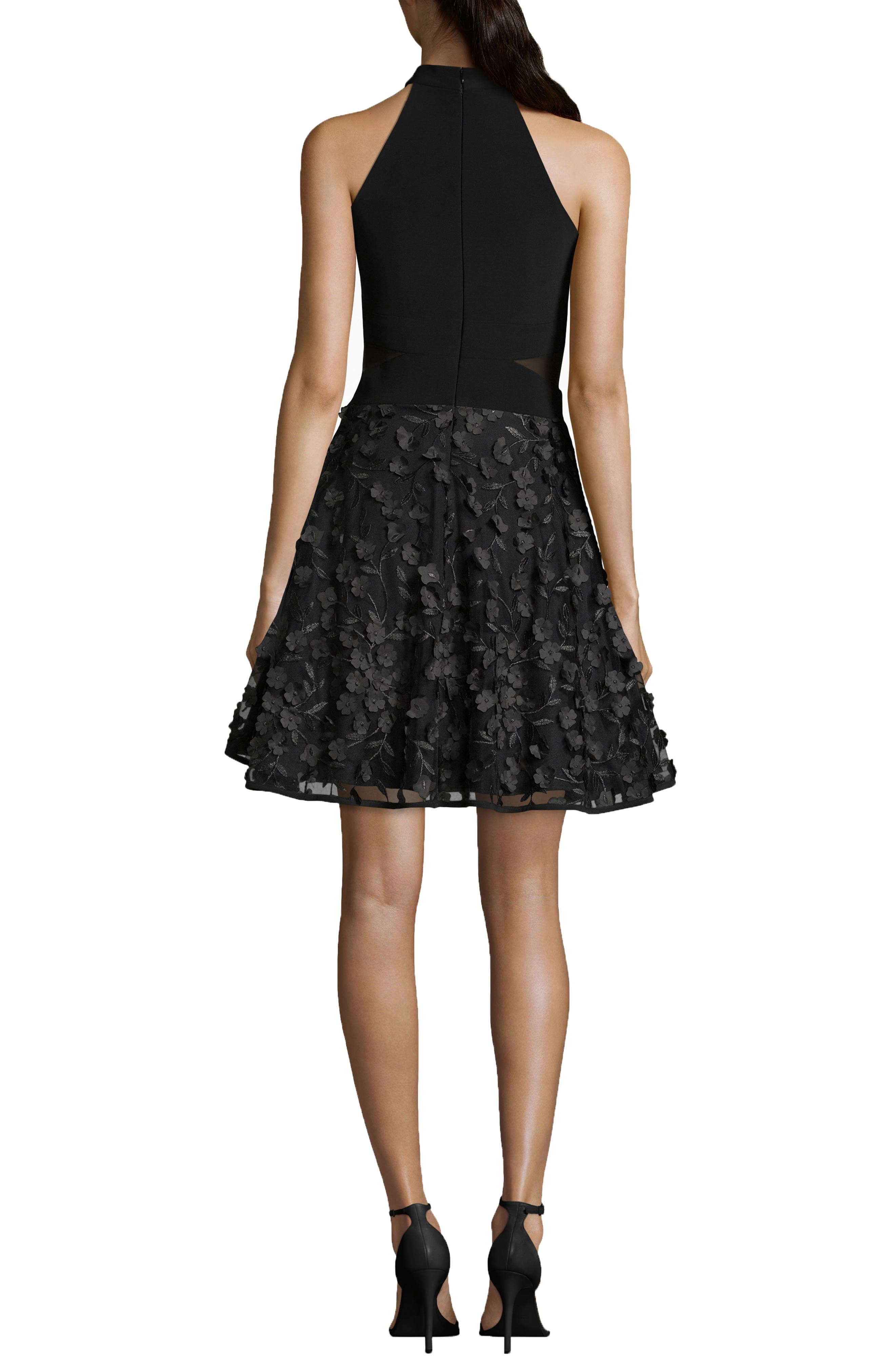 3D Floral Party Dress,                             Alternate thumbnail 2, color,                             BLACK/ BLACK