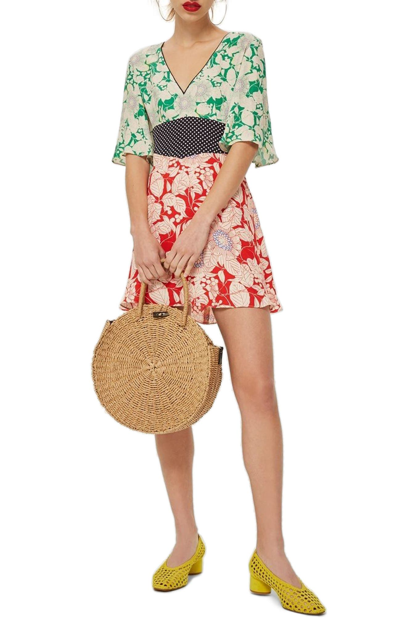 TOPSHOP Mix Floral Print Minidress, Main, color, 600
