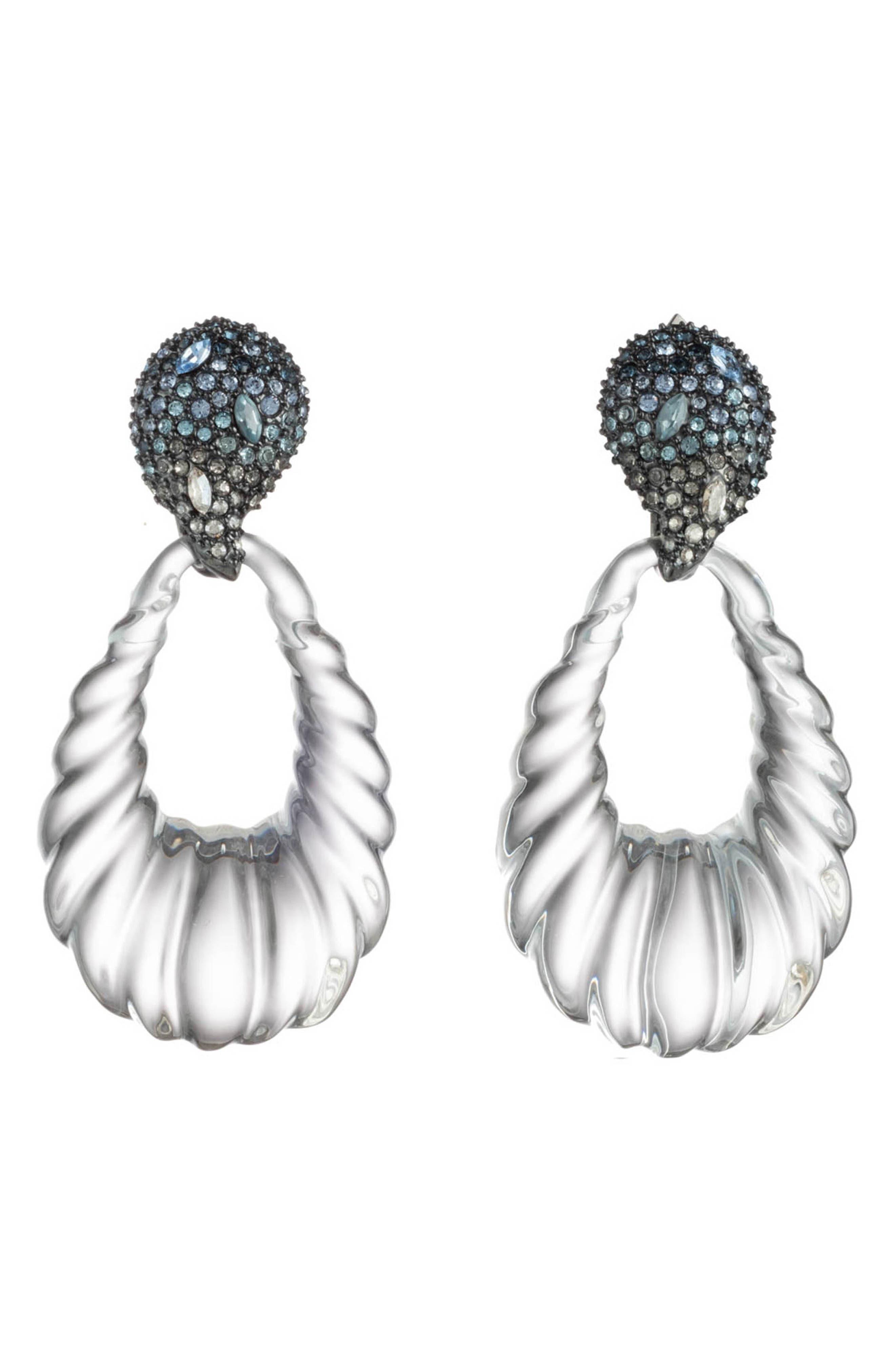 ALEXIS BITTAR Crystal Encrusted Ombré Paisley Rope Teardrop Earrings in Grey