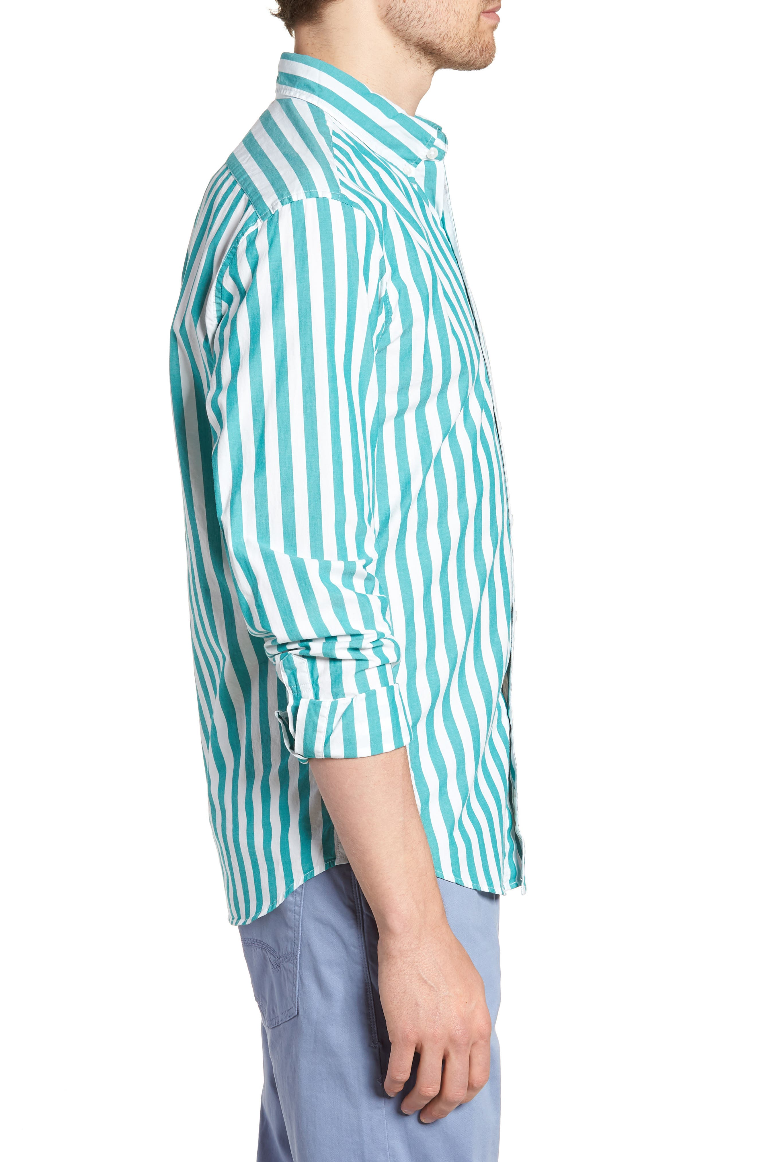 Slim Fit Stretch Secret Wash Stripe Sport Shirt,                             Alternate thumbnail 3, color,                             400