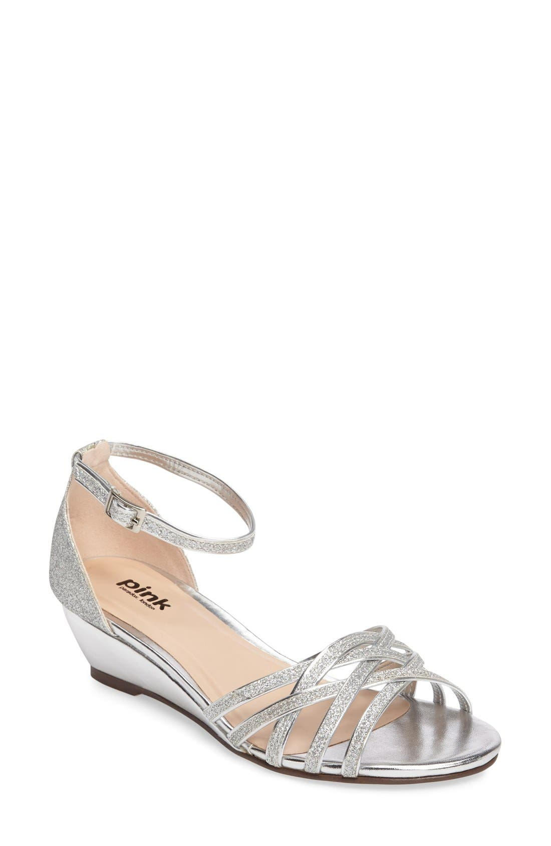 Avery Wedge Sandal,                         Main,                         color, SILVER
