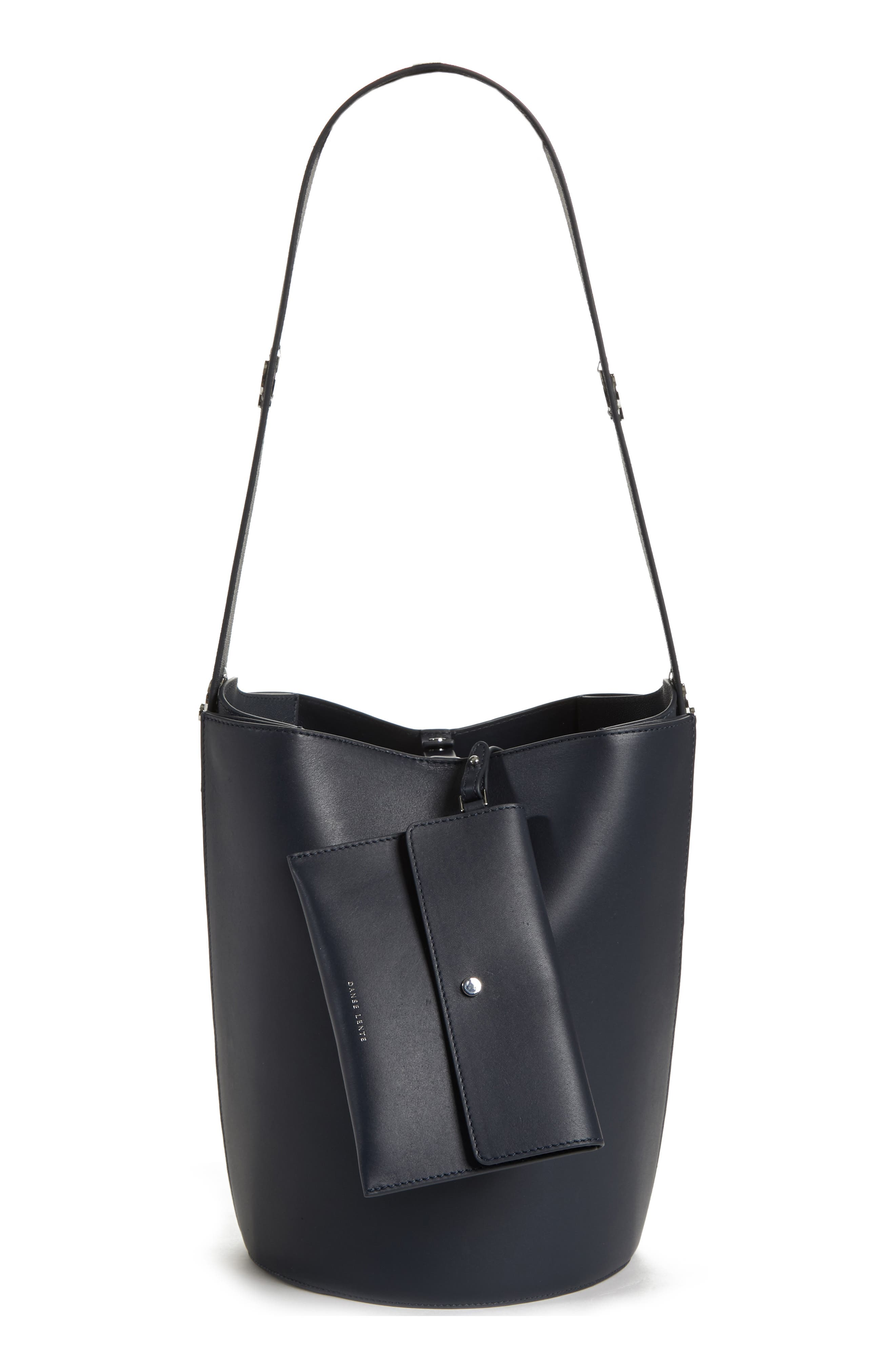 Mini Lorna Leather Bucket Bag,                             Alternate thumbnail 4, color,                             MARINE