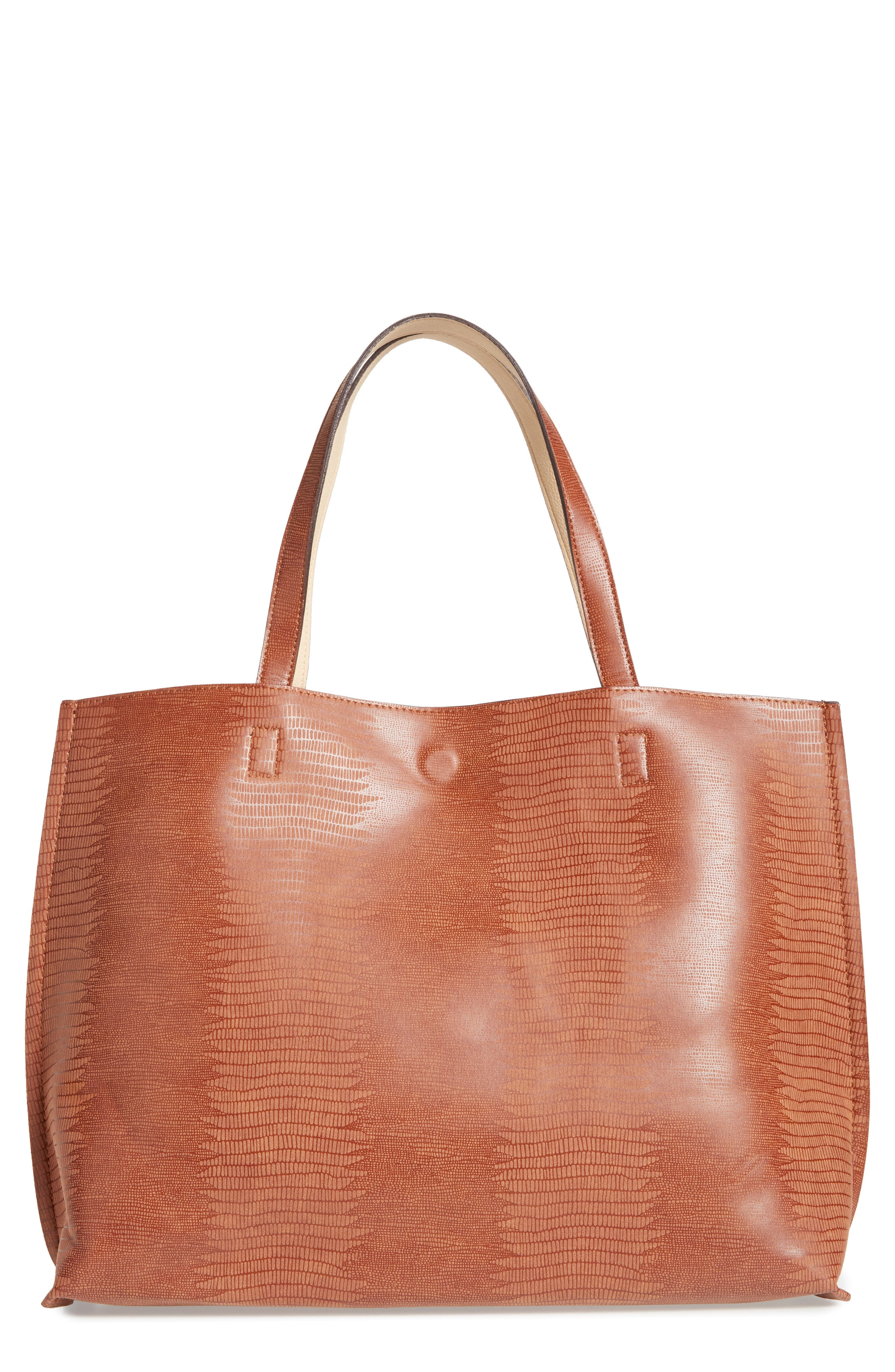 Reversible Faux Leather Tote,                             Main thumbnail 4, color,