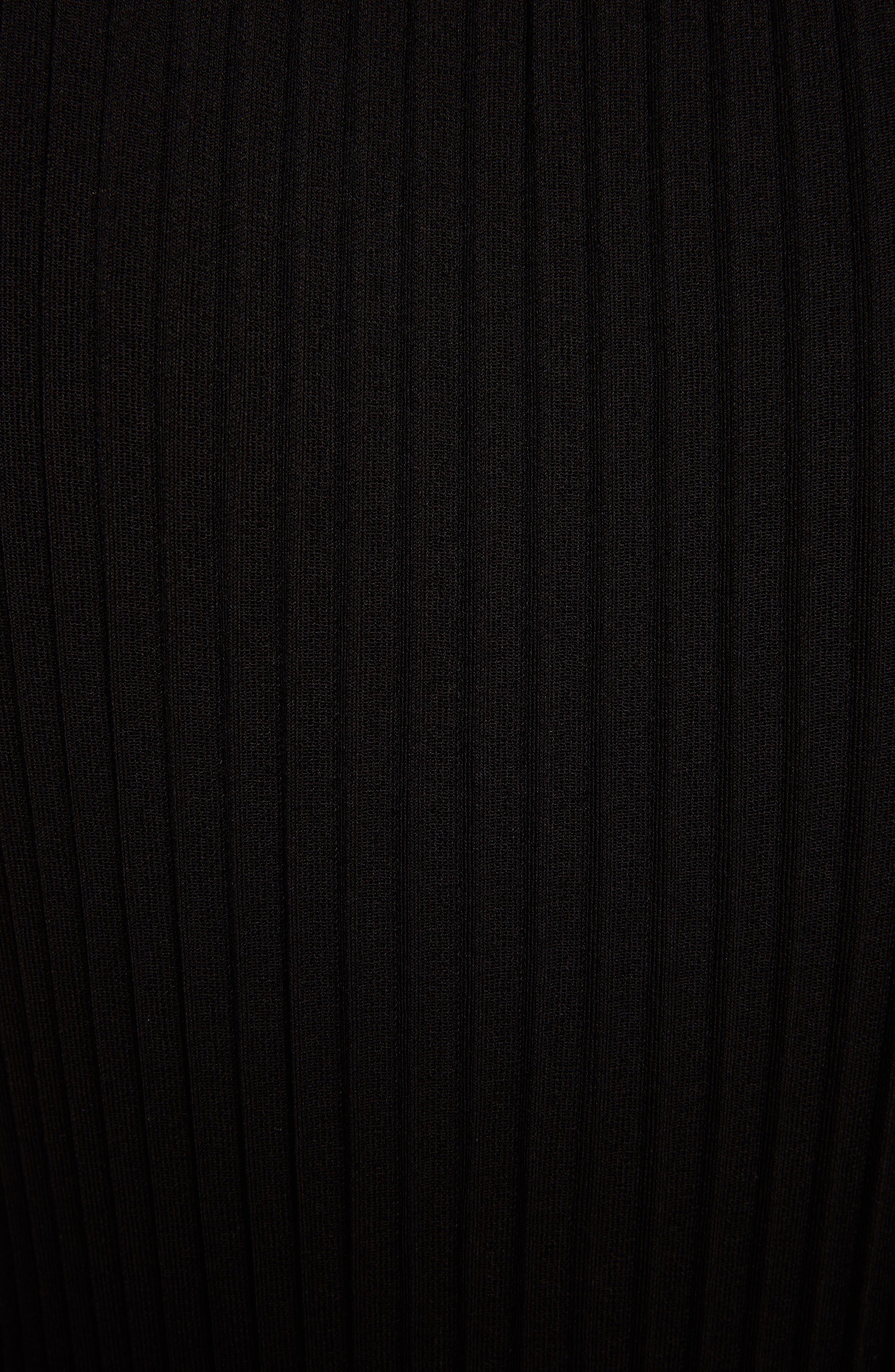 Ribbed Ruffle Hem Dress,                             Alternate thumbnail 5, color,                             001