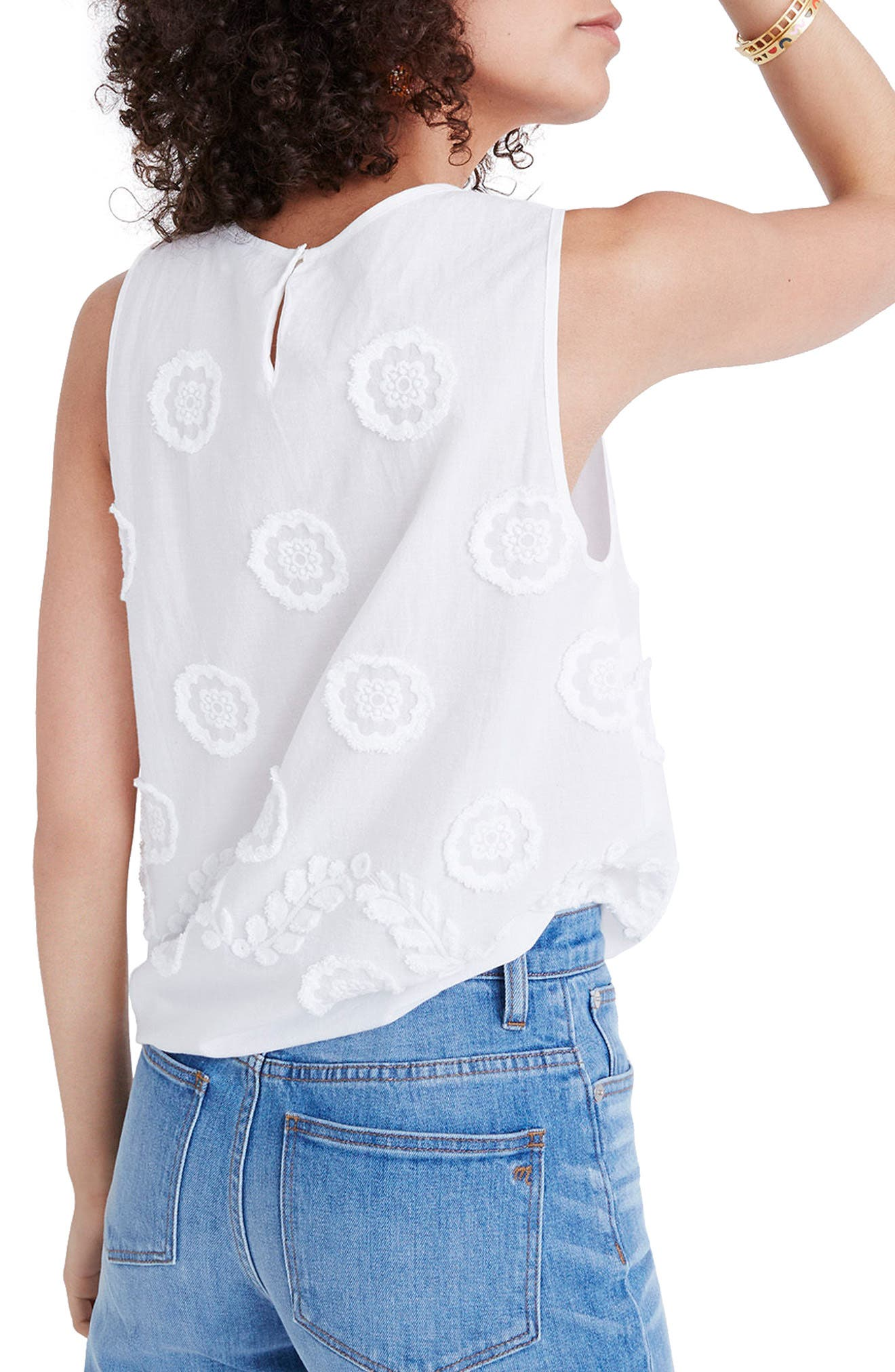 MADEWELL,                             Embroidered Side Tie Tank,                             Alternate thumbnail 2, color,                             101