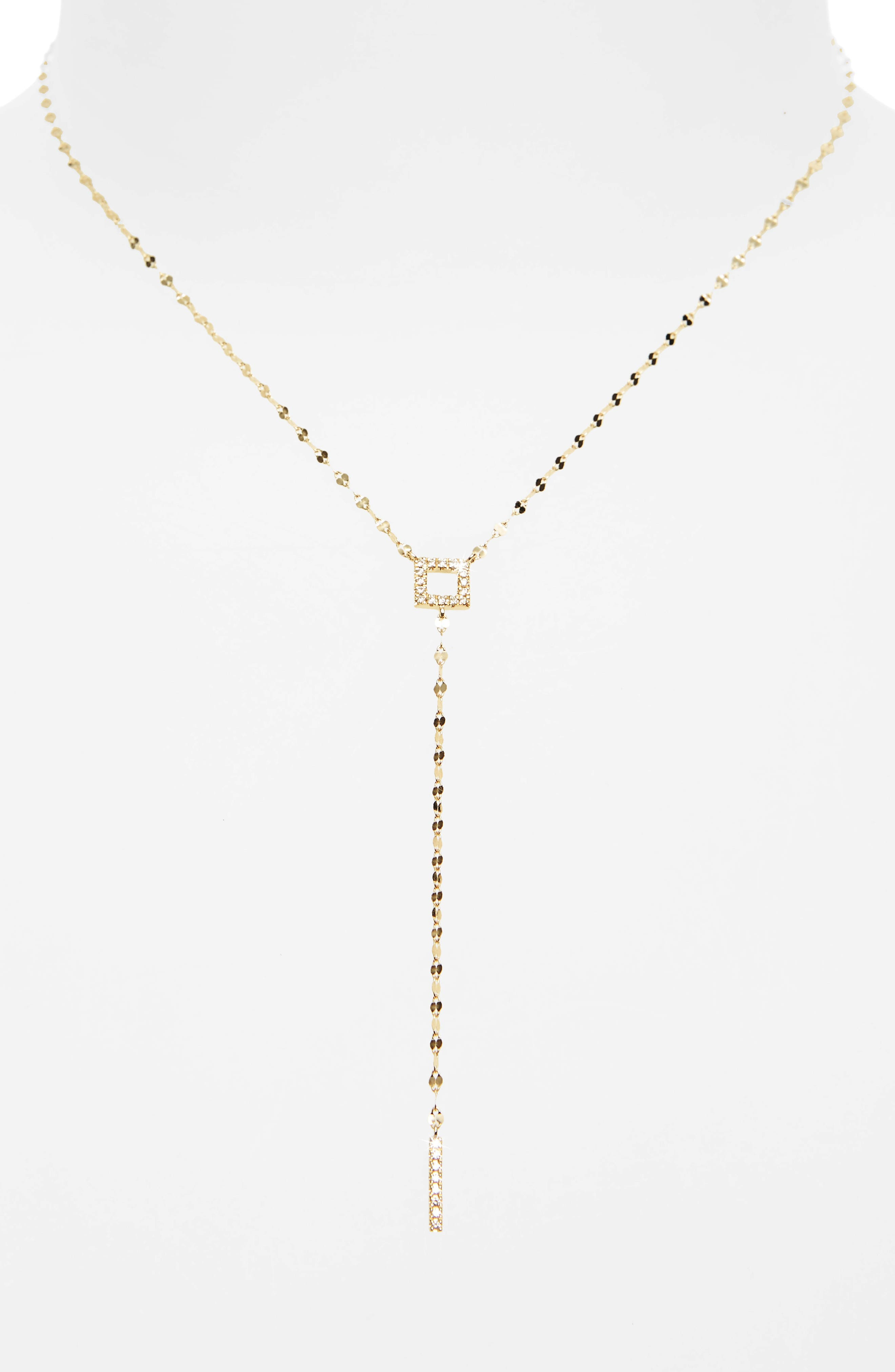 Diamond Lariat Necklace,                             Main thumbnail 1, color,                             YELLOW GOLD