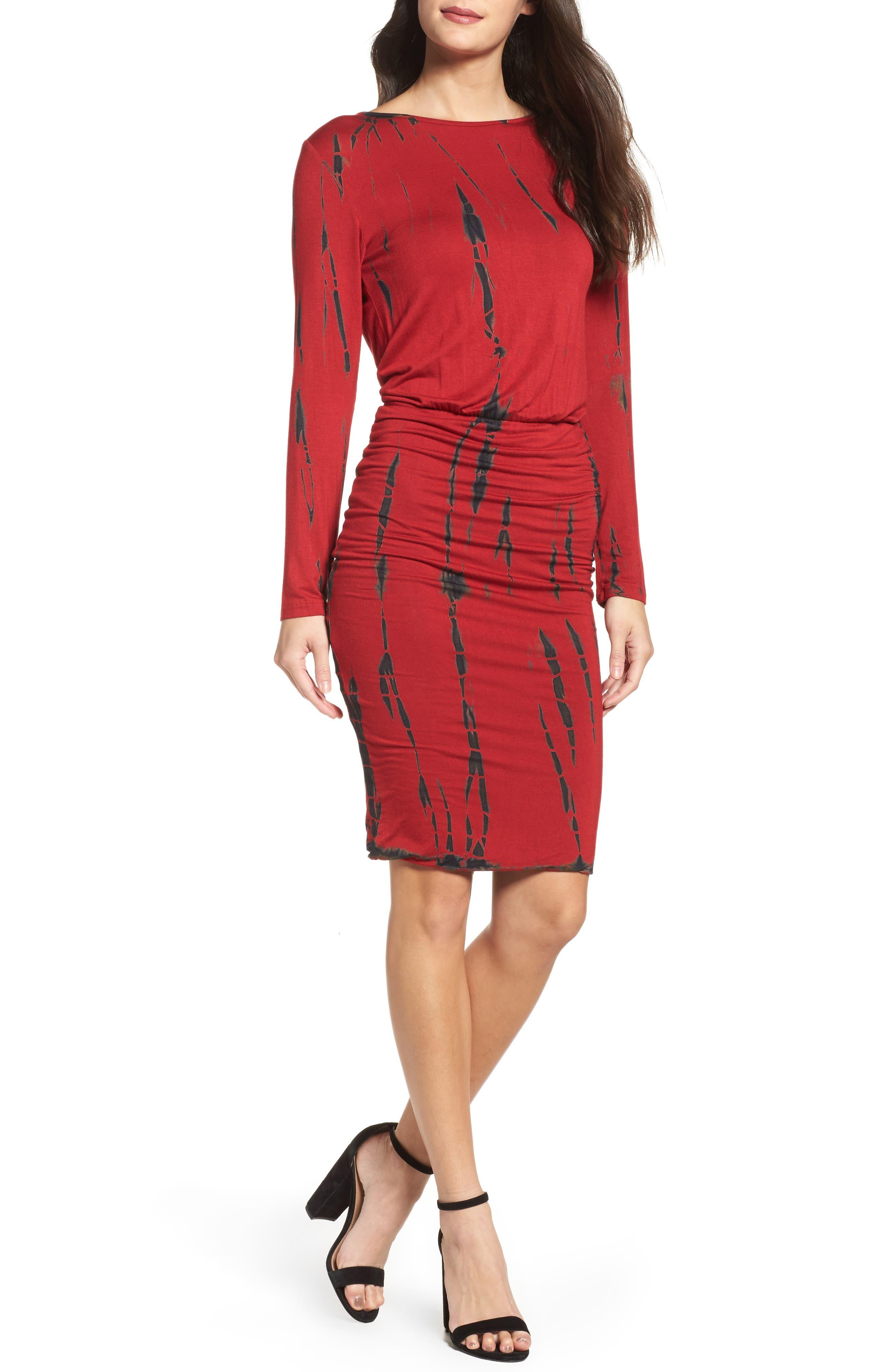 Tie Dye Blouson Midi Dress,                             Main thumbnail 1, color,                             WINE BLACK