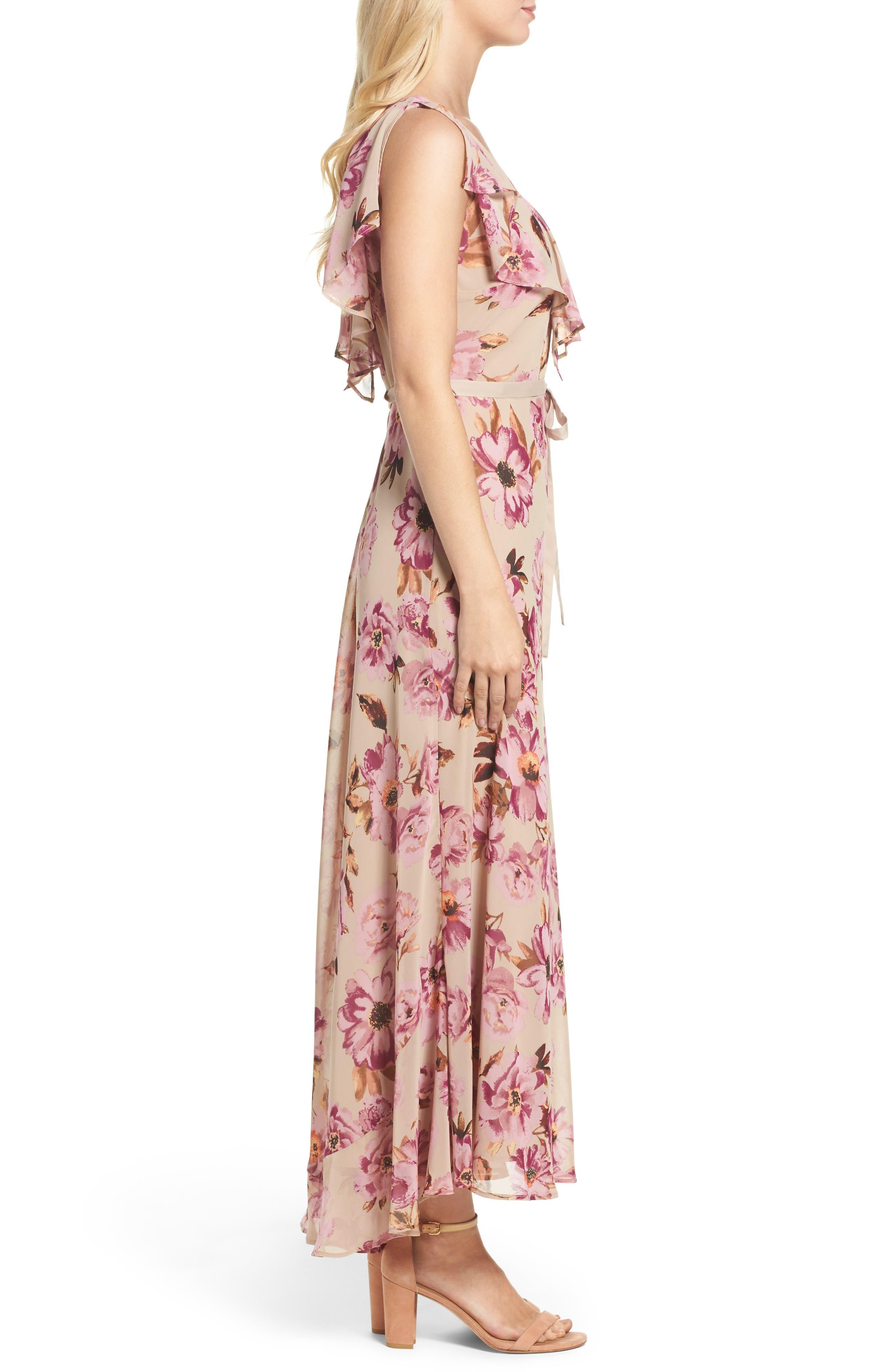 Chiffon Maxi Dress,                             Alternate thumbnail 3, color,                             653