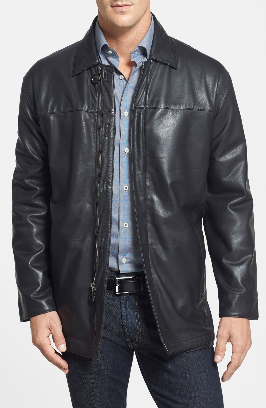 Classic Fit Reversible Leather & Lambswool Car Coat,                             Main thumbnail 1, color,                             BLACK