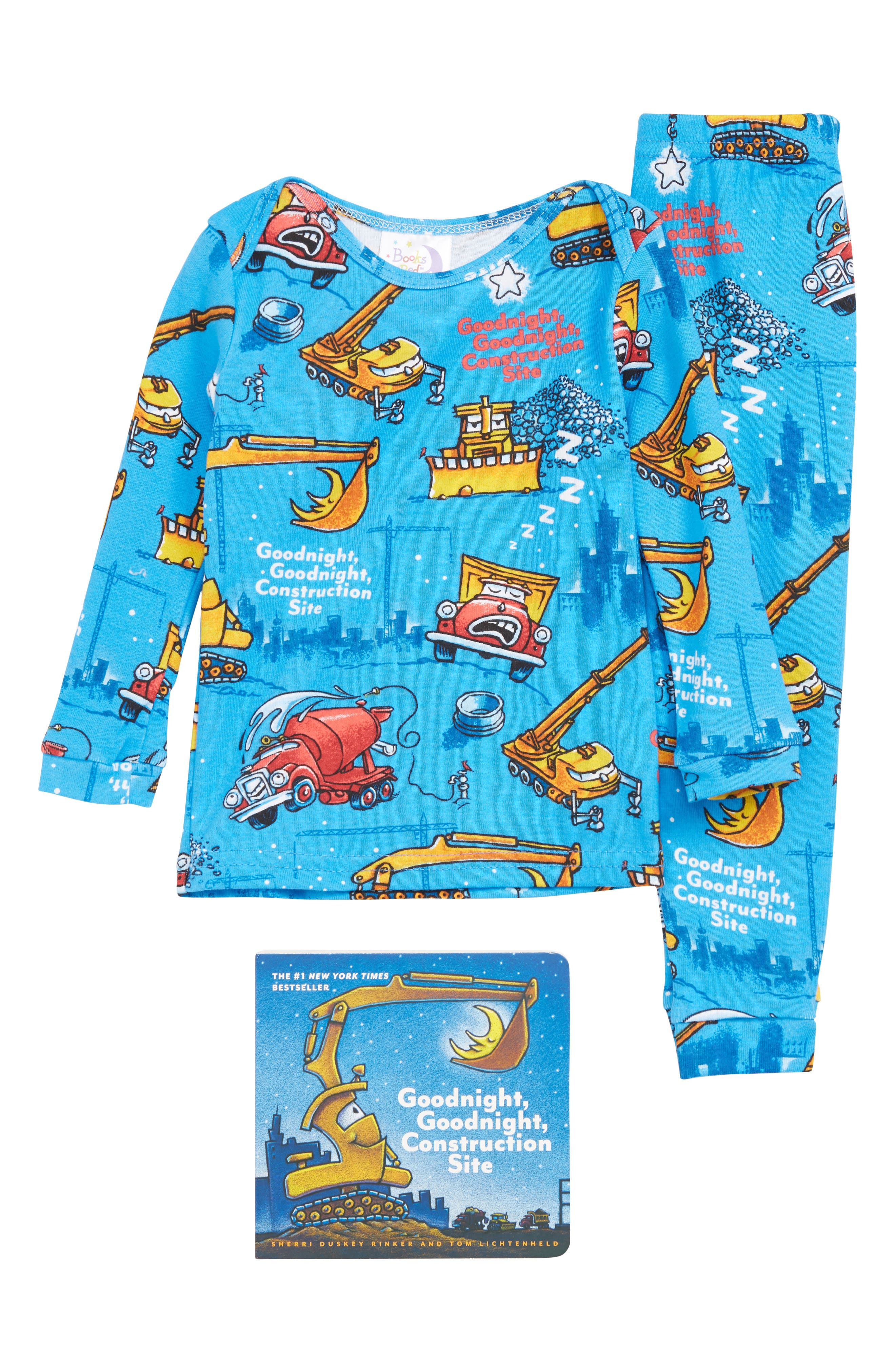 Infant Books To Bed Goodnight Construction Site Fitted TwoPiece Pajamas  Book Set Size 24M  Blue