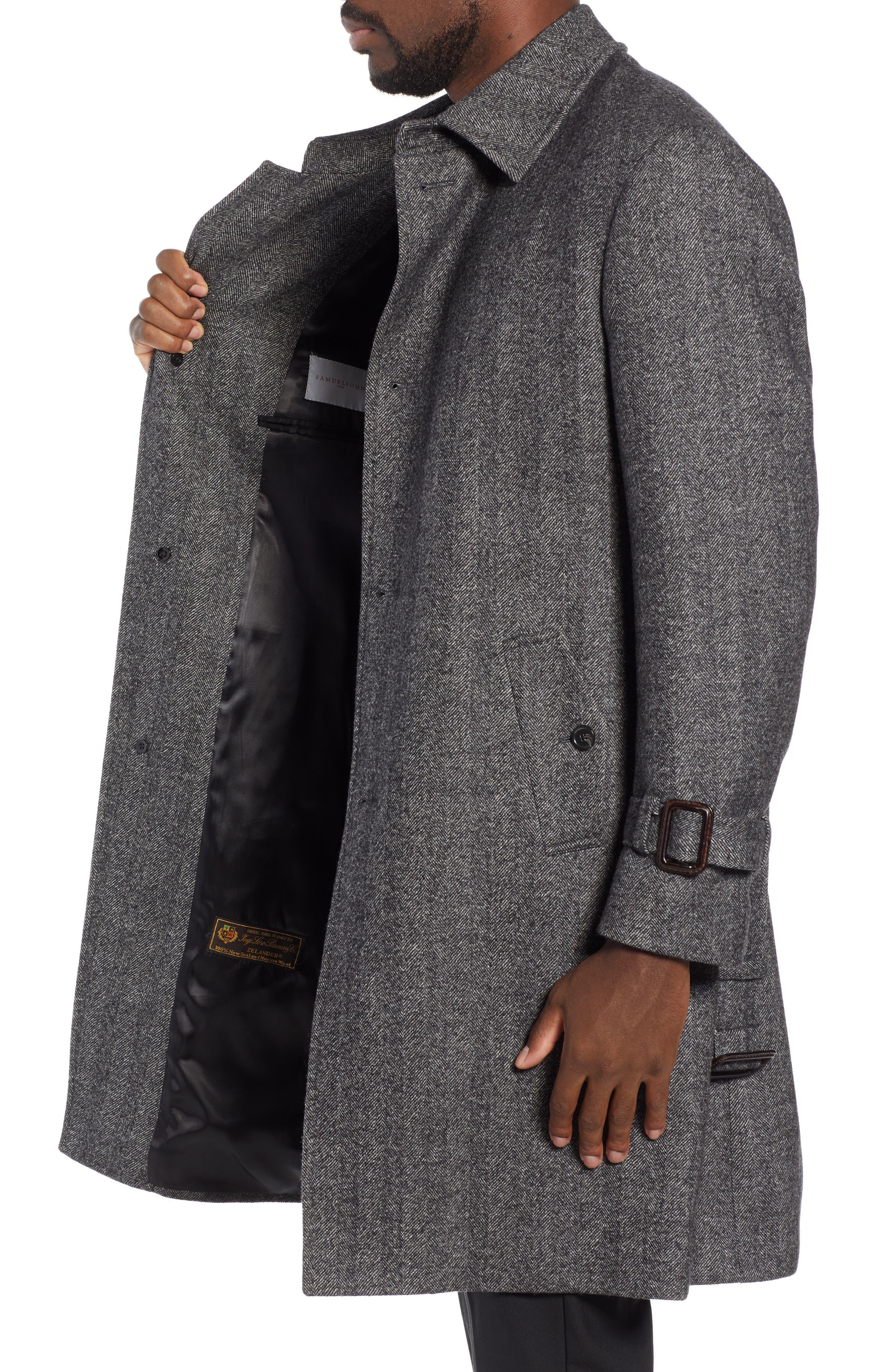 Zelander Herringbone Wool Blend Coat,                             Alternate thumbnail 3, color,                             GREY