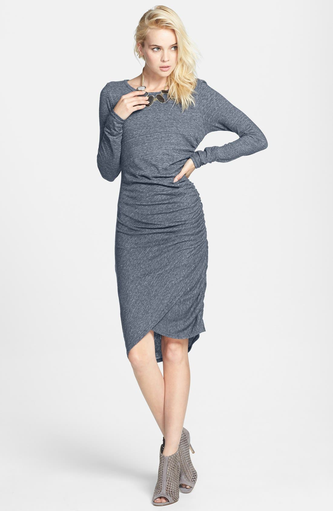 Ruched Long Sleeve Dress,                             Alternate thumbnail 12, color,                             001