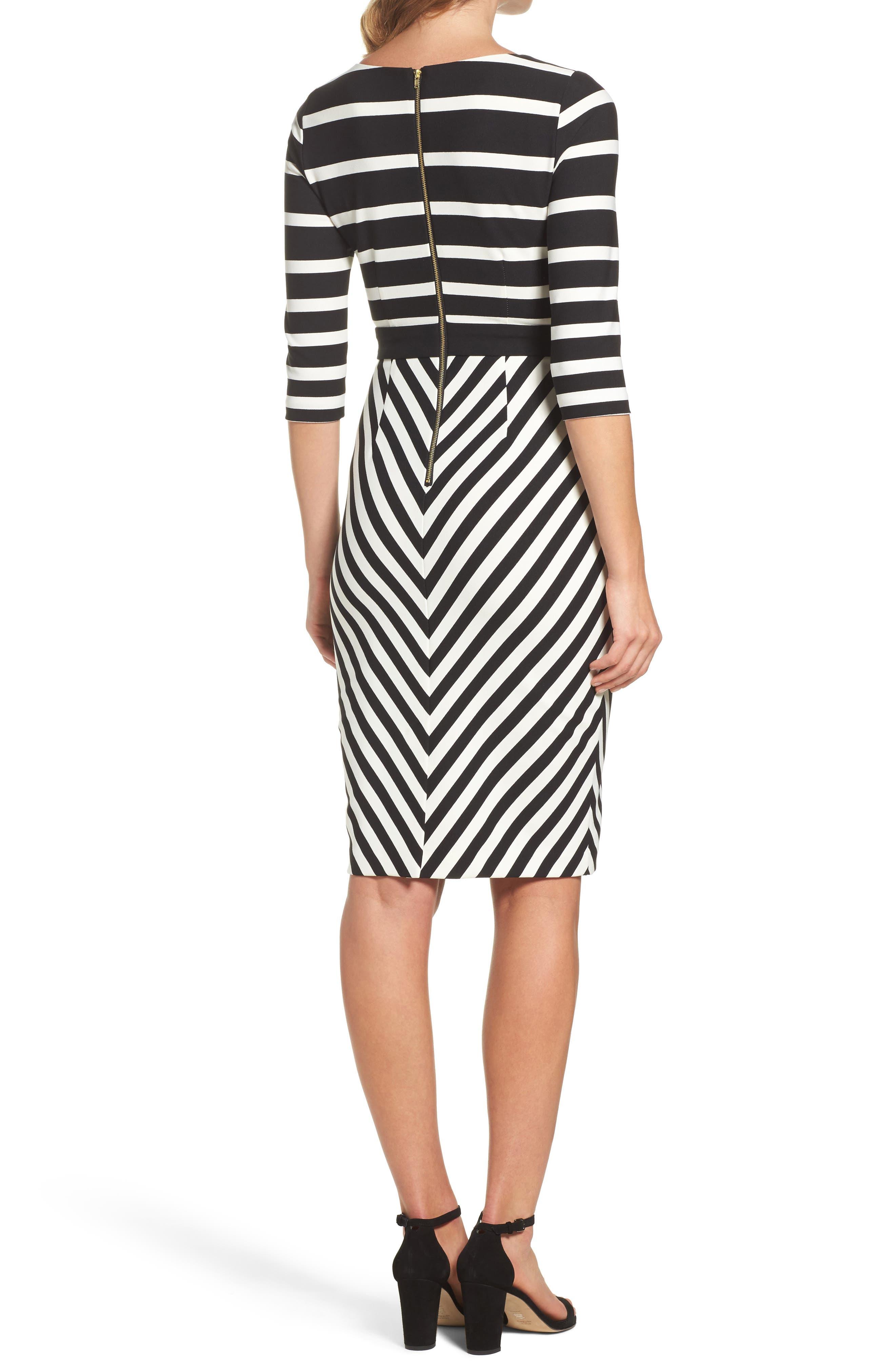 Stripe Sheath Dress,                             Alternate thumbnail 2, color,                             001
