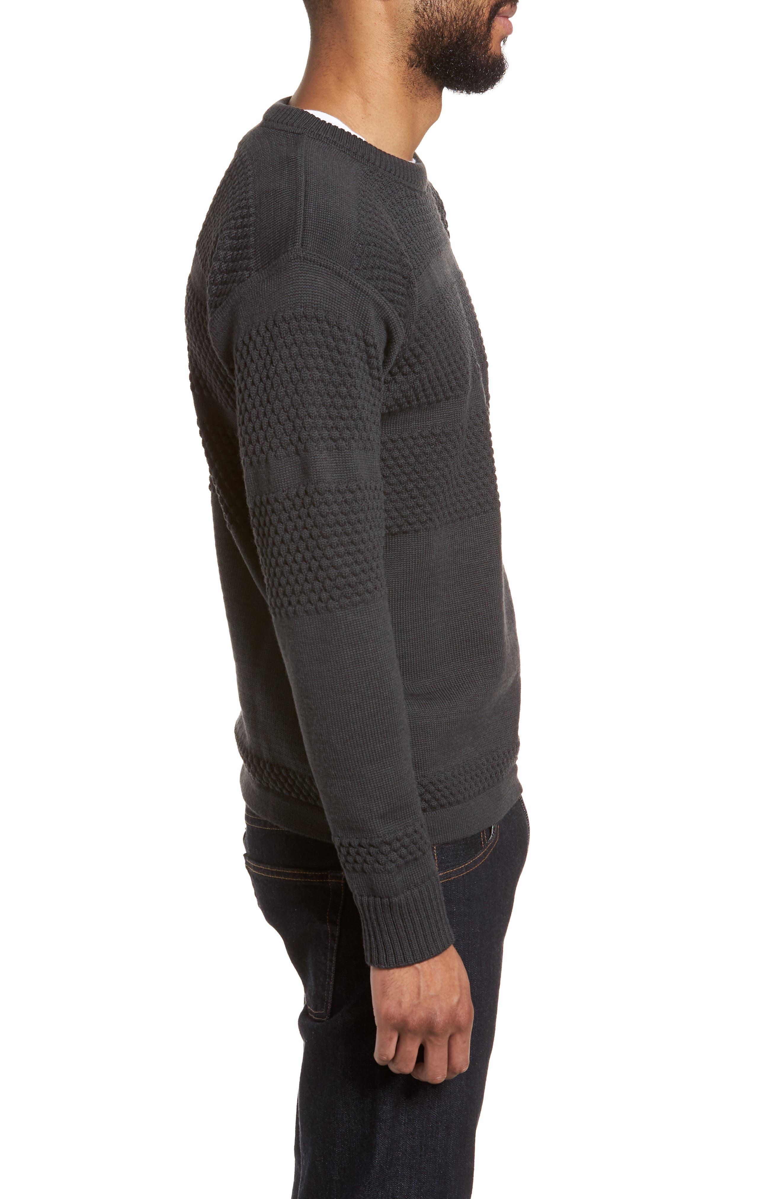Fisherman Crewneck Wool Sweater,                             Alternate thumbnail 3, color,                             020