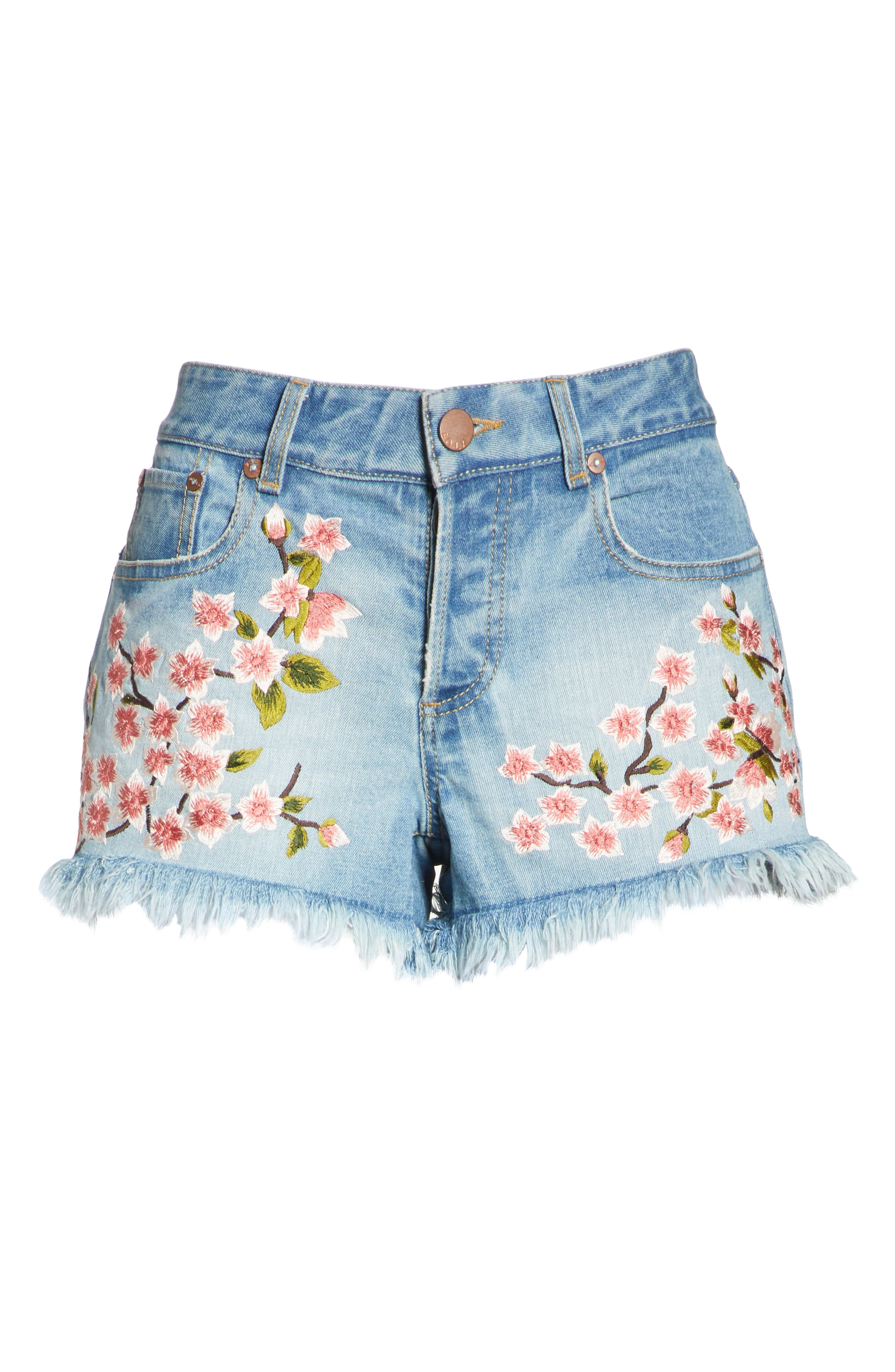 Embroidered Denim Shorts,                             Alternate thumbnail 6, color,                             SWEET EMOTION/ MULTI