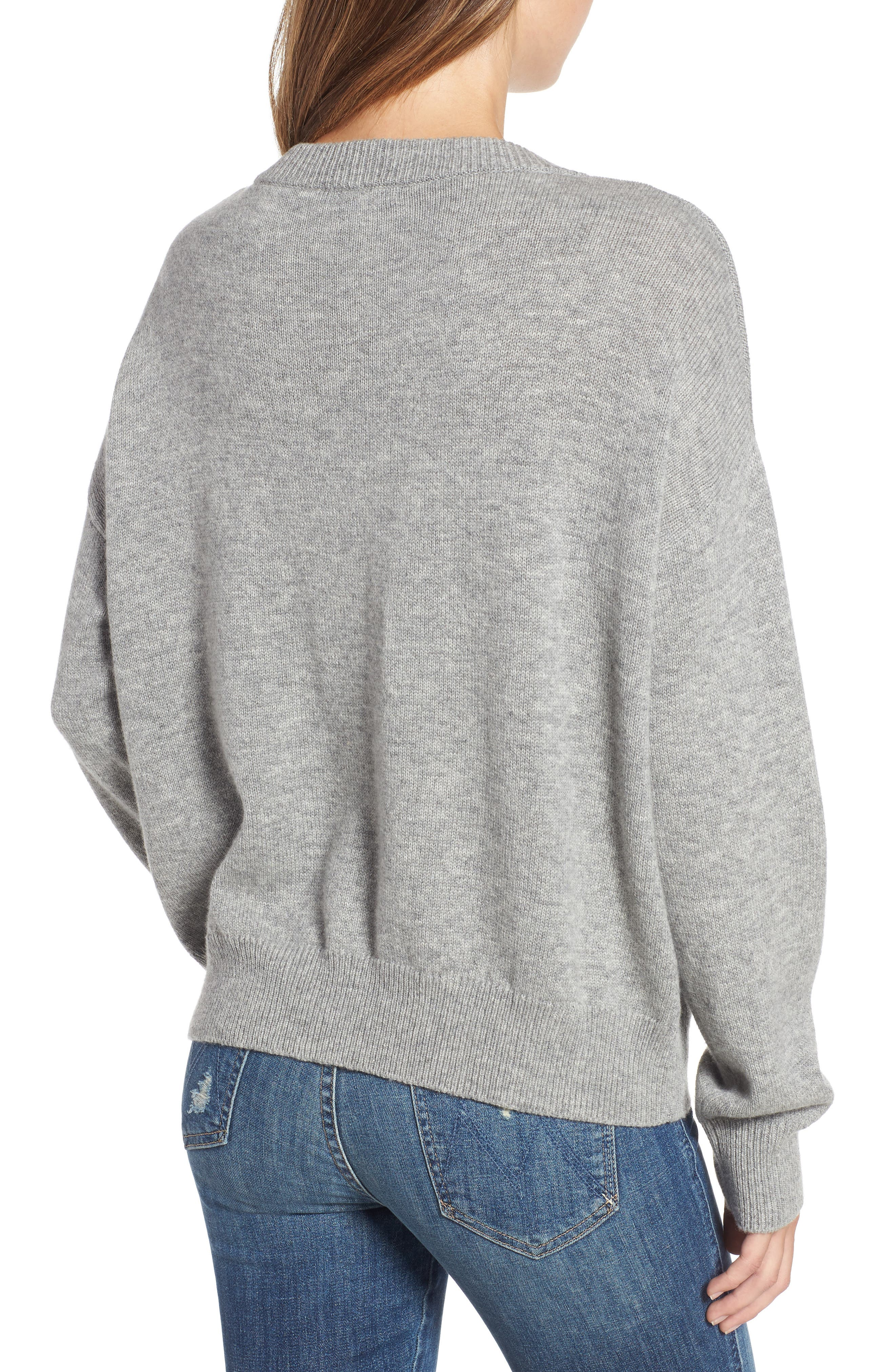 Olivia Lace-Up Sweater,                             Alternate thumbnail 2, color,                             HEATHER GREY