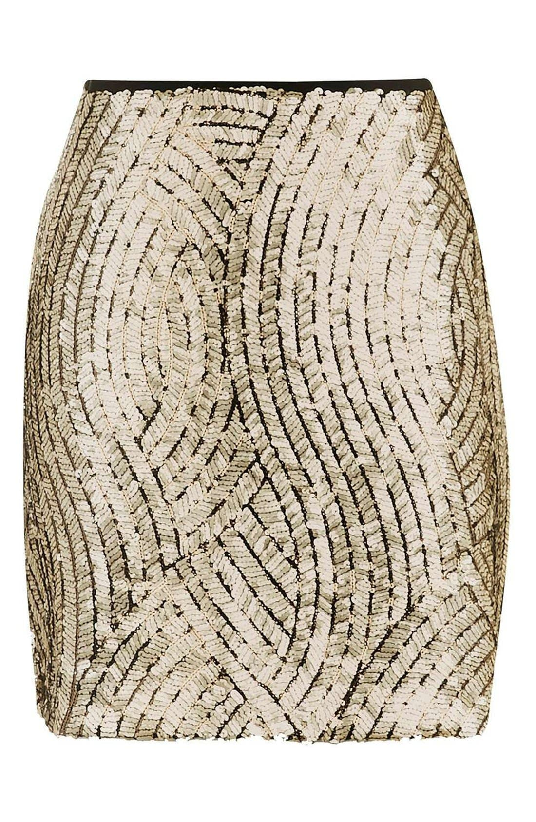 Psych Sequin Miniskirt,                             Alternate thumbnail 6, color,                             710