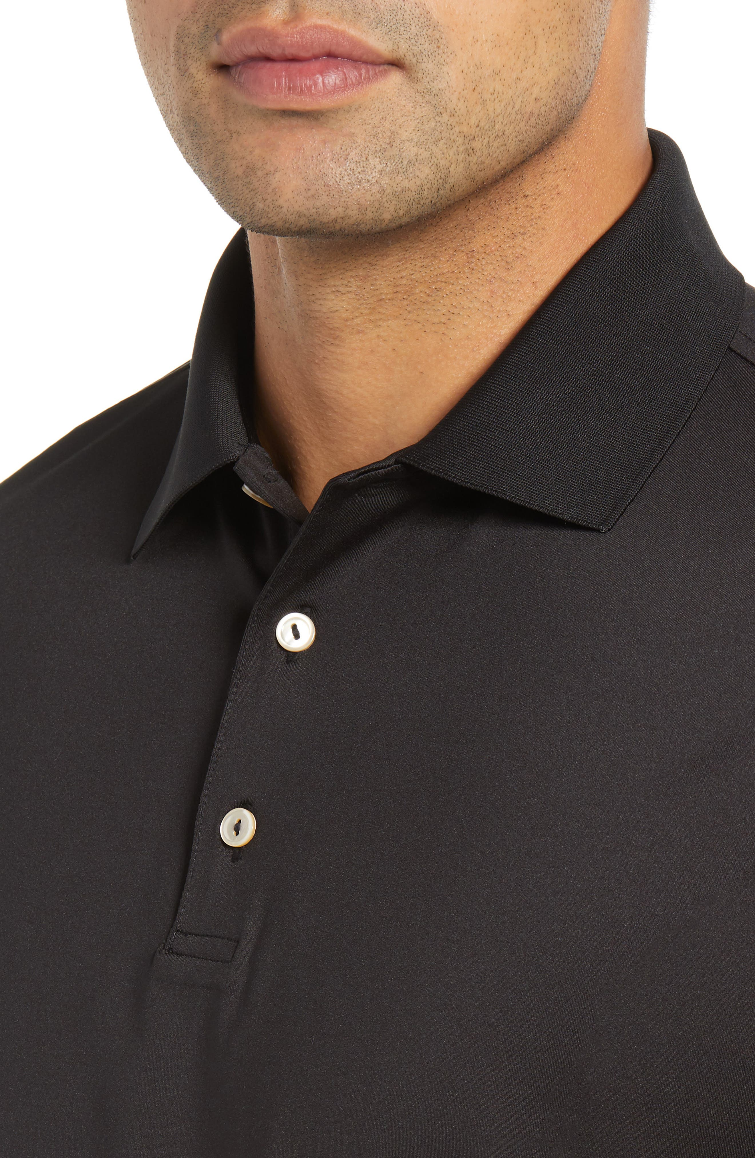 Stretch Jersey Performance Polo,                             Alternate thumbnail 4, color,                             BLACK