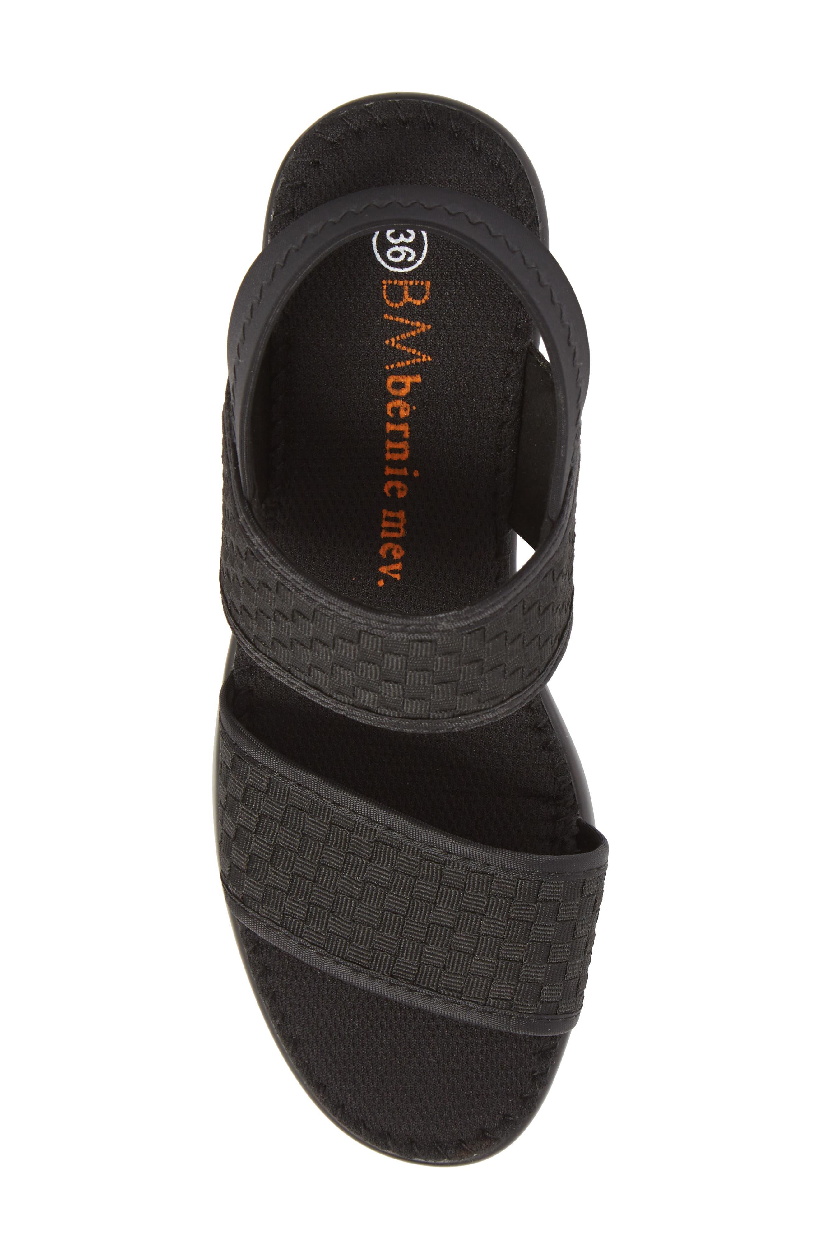 Santorini Sandal,                             Alternate thumbnail 5, color,                             BLACK FABRIC