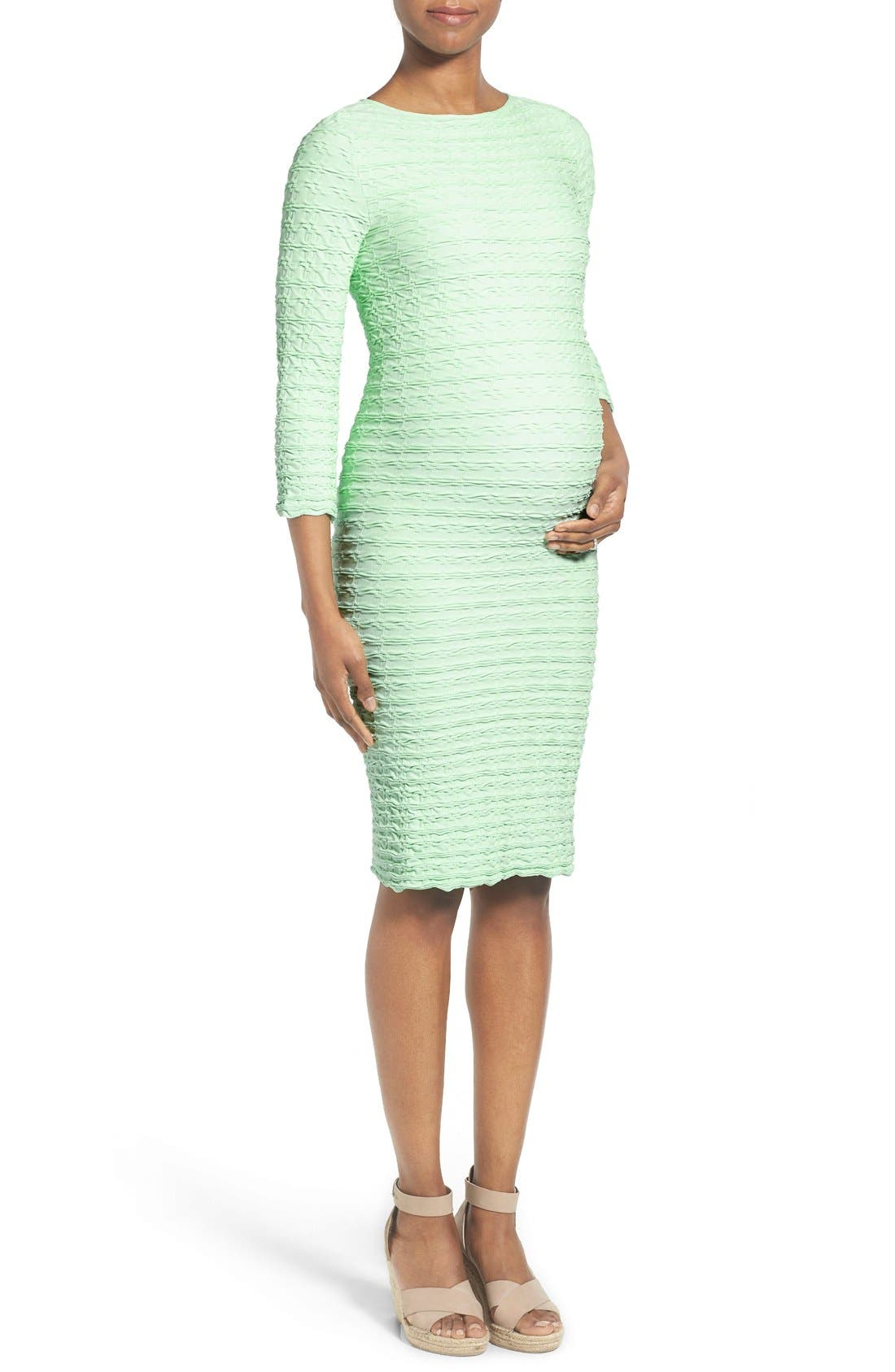 'Crinkle' Maternity Midi Dress,                         Main,                         color,