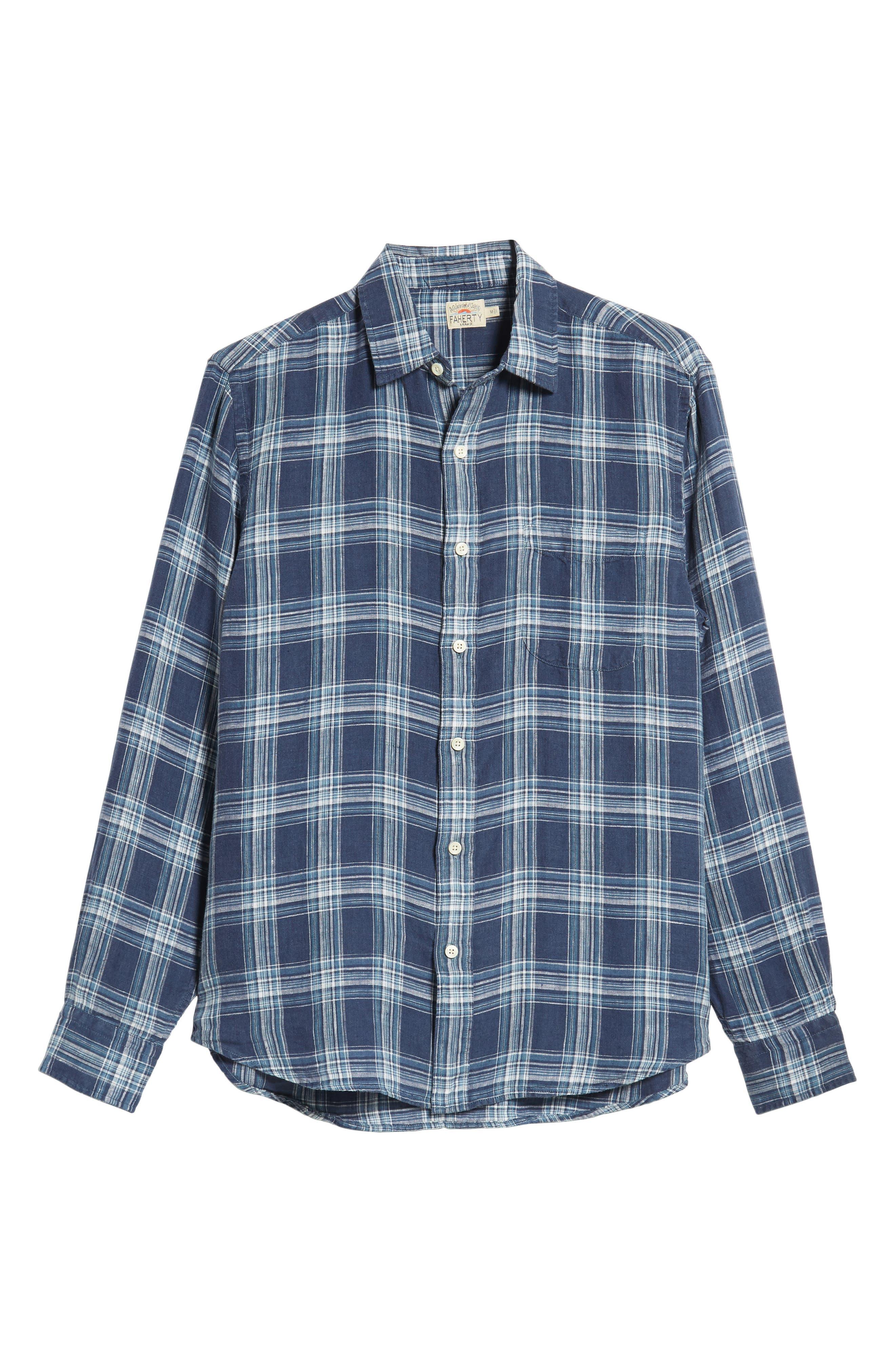 Ventura Check Linen Sport Shirt,                             Alternate thumbnail 5, color,                             400
