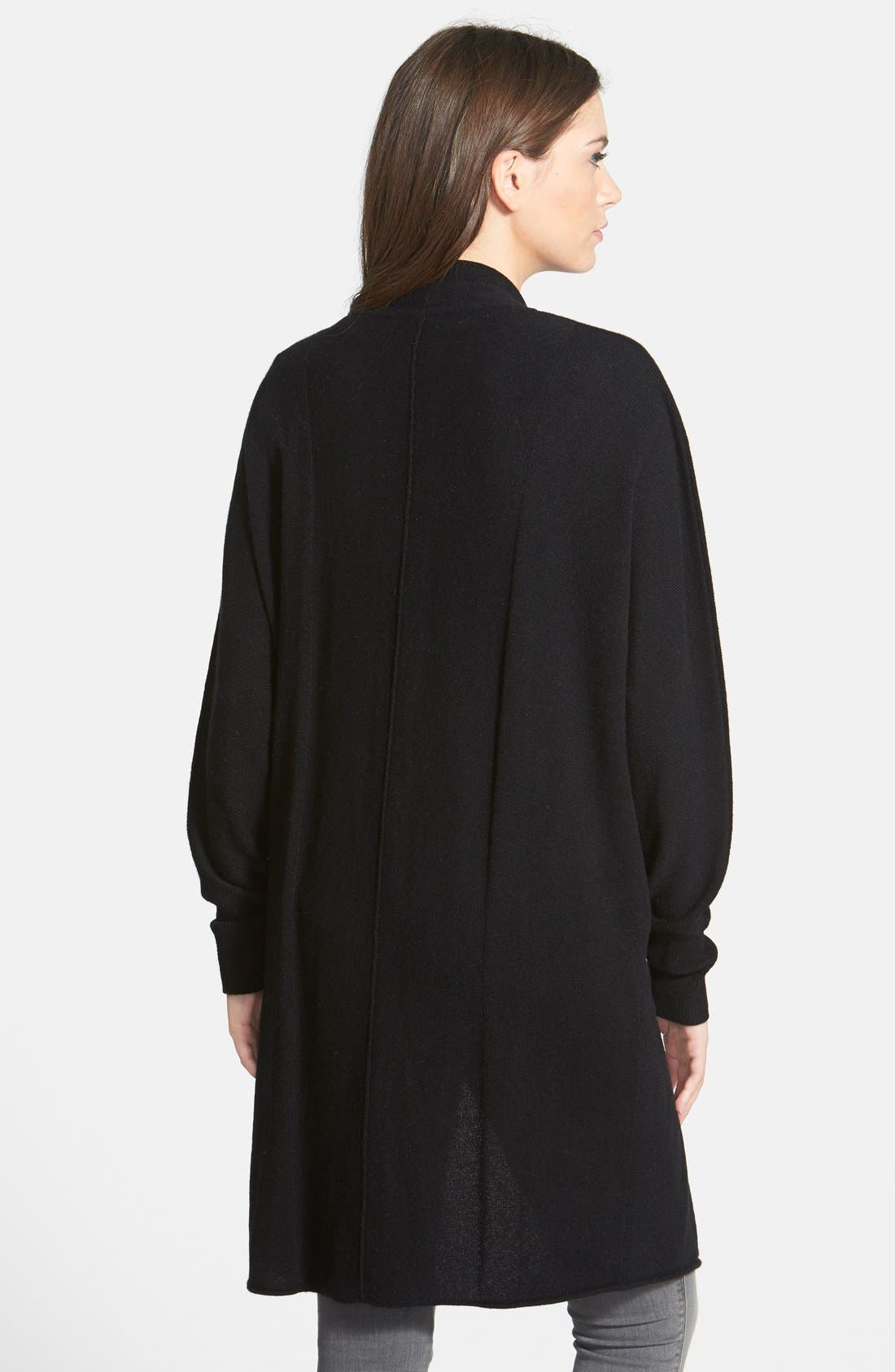 NORDSTROM COLLECTION,                             Dolman Sleeve Long Cashmere Cardigan,                             Alternate thumbnail 2, color,                             001
