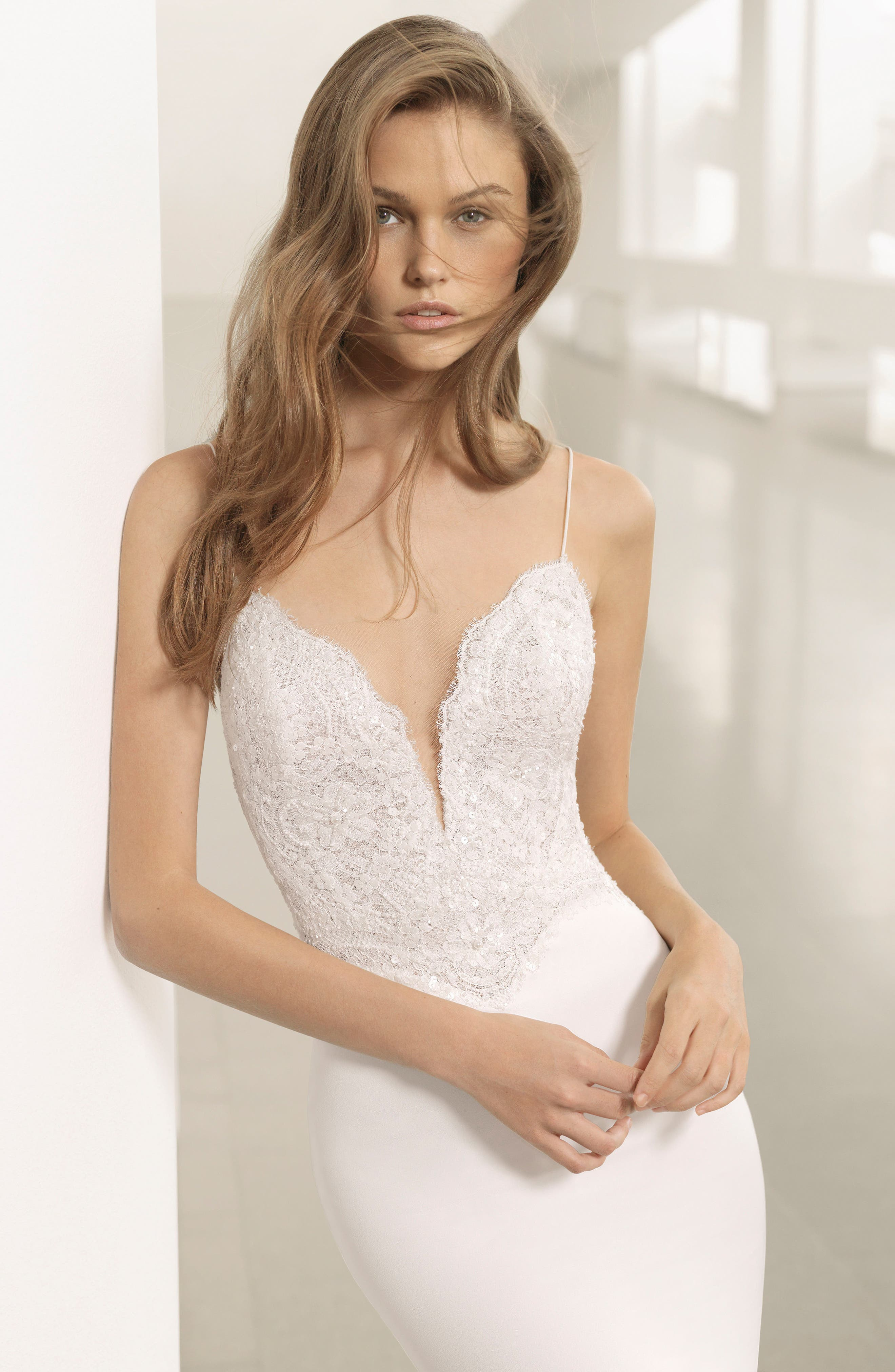 Rosa Clará Couture Pravia Lace & Crepe Plunge Gown,                             Alternate thumbnail 3, color,                             NATURAL/NUDE