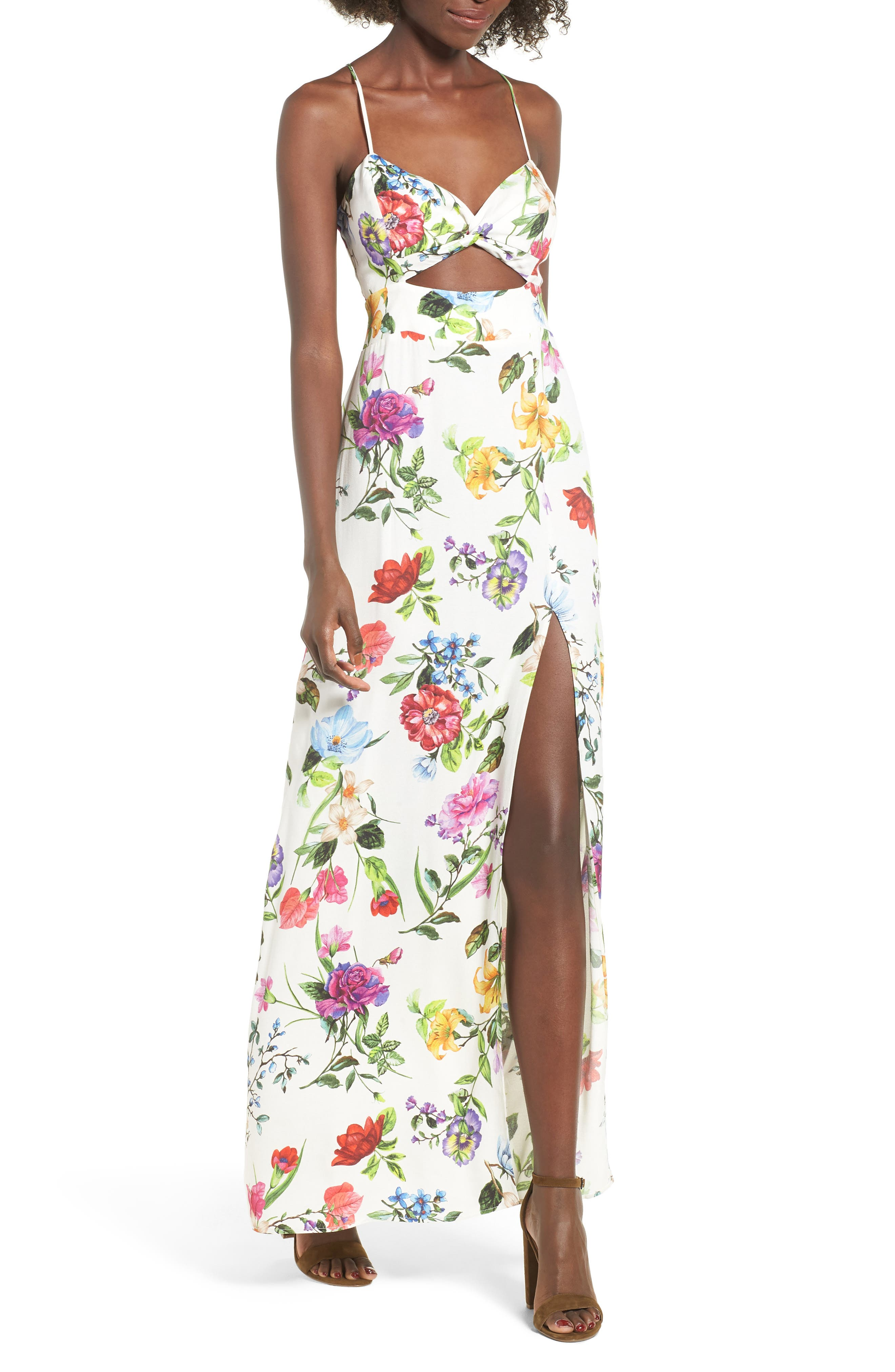 Marie Twisted Knot Front Maxi Dress,                             Main thumbnail 1, color,                             100