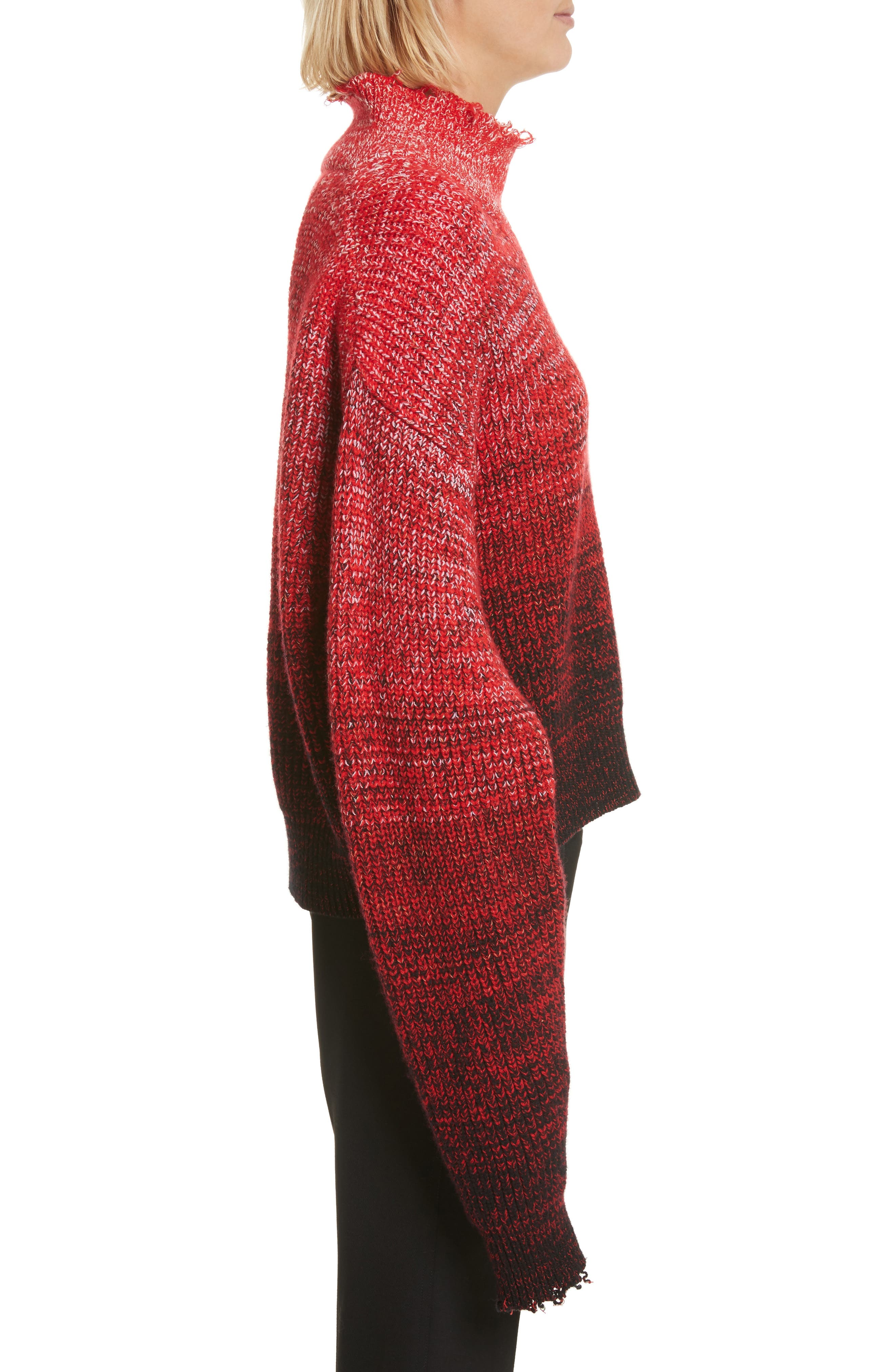 Distressed Marled Patchwork Turtleneck Sweater,                             Alternate thumbnail 3, color,                             641
