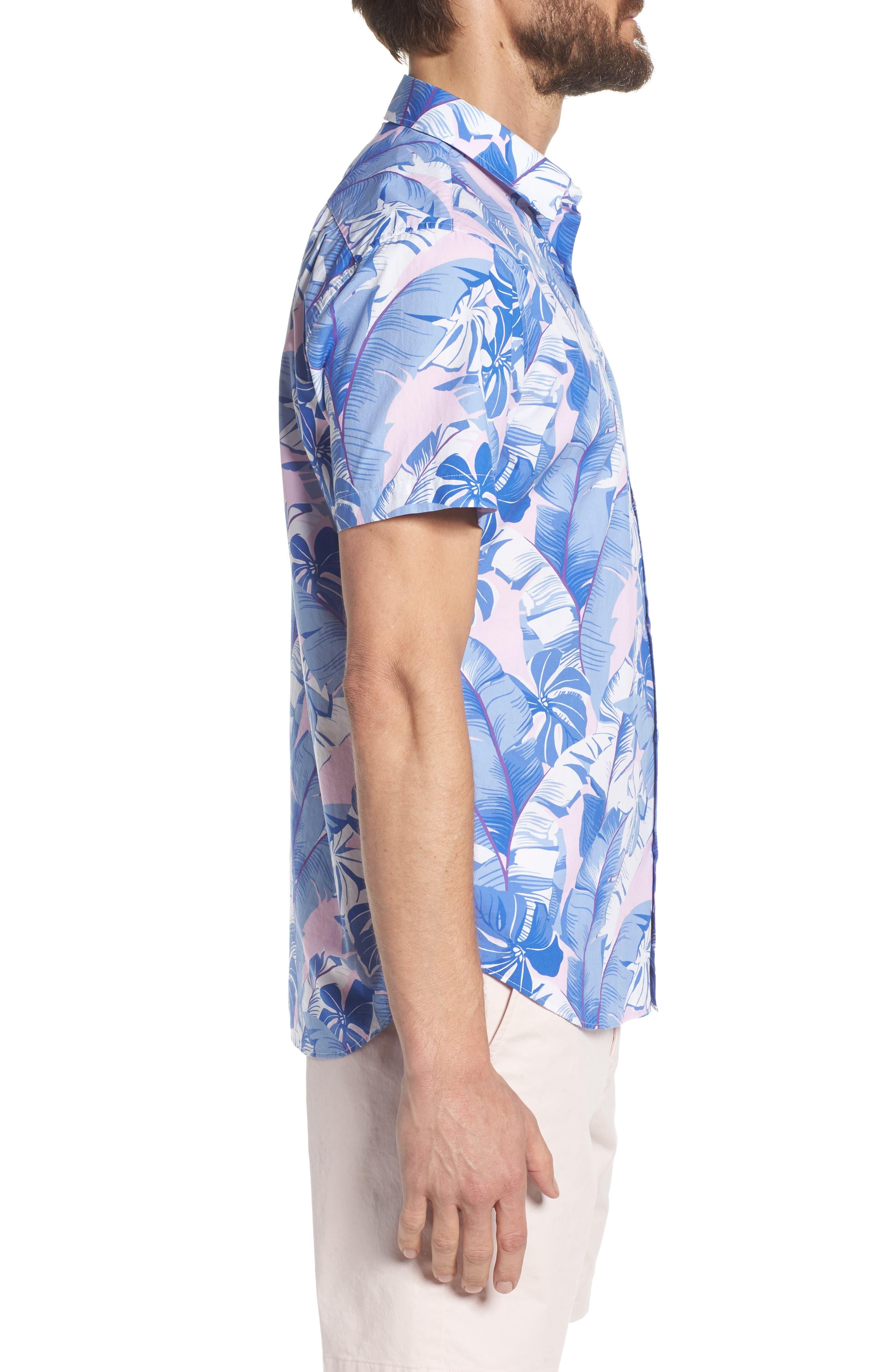 Slim Fit Tropical Print Premium Sport Shirt,                             Alternate thumbnail 3, color,                             400